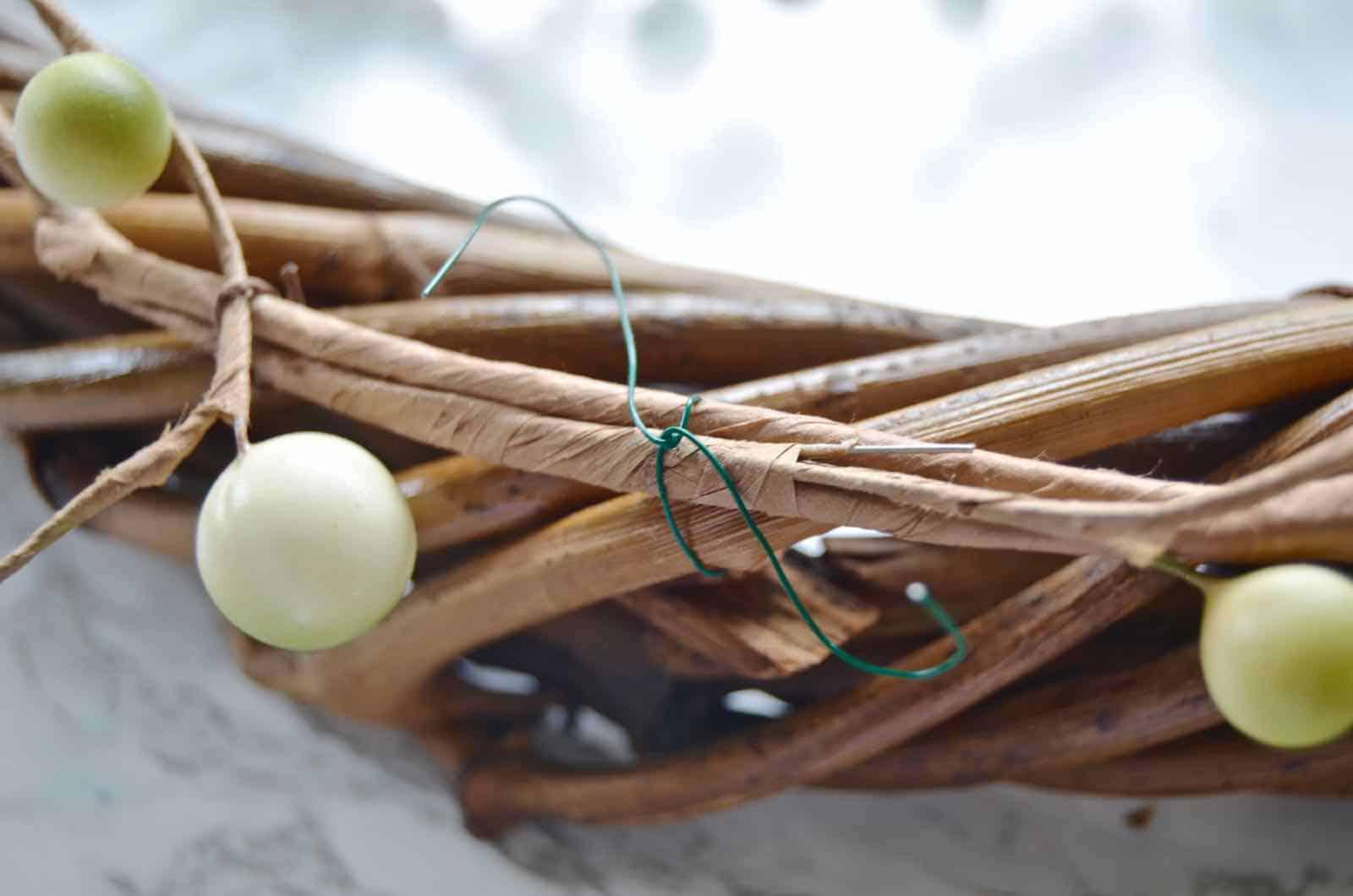 attach garland to wreath