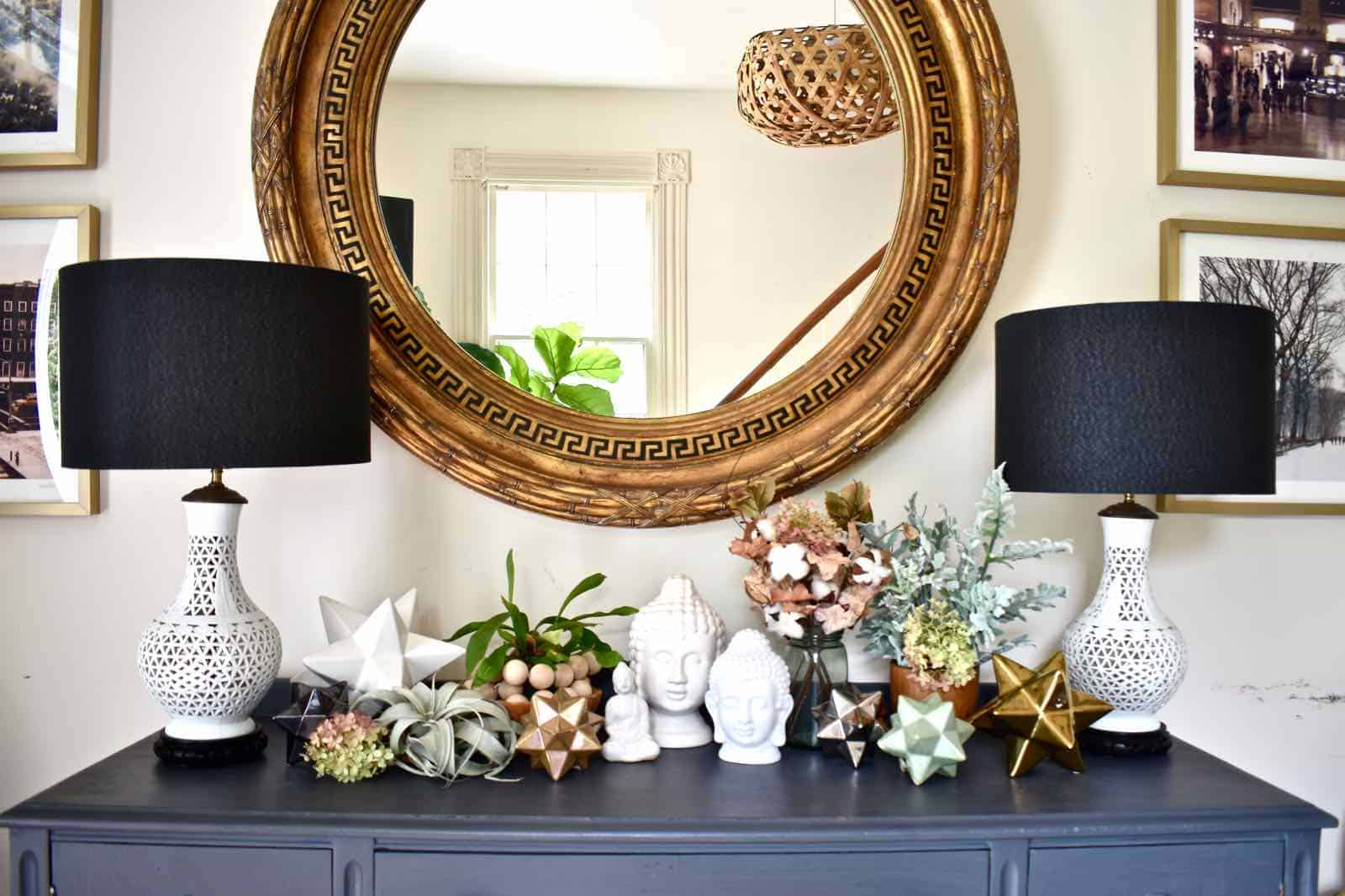 foyer table decorating for fall