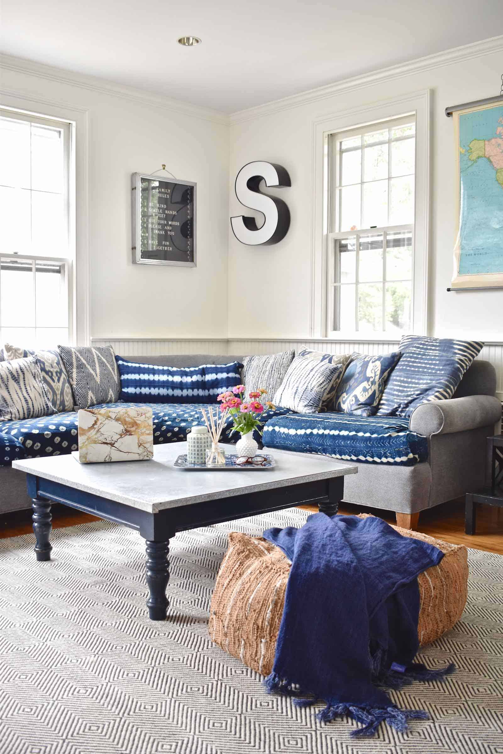 indigo filled family room