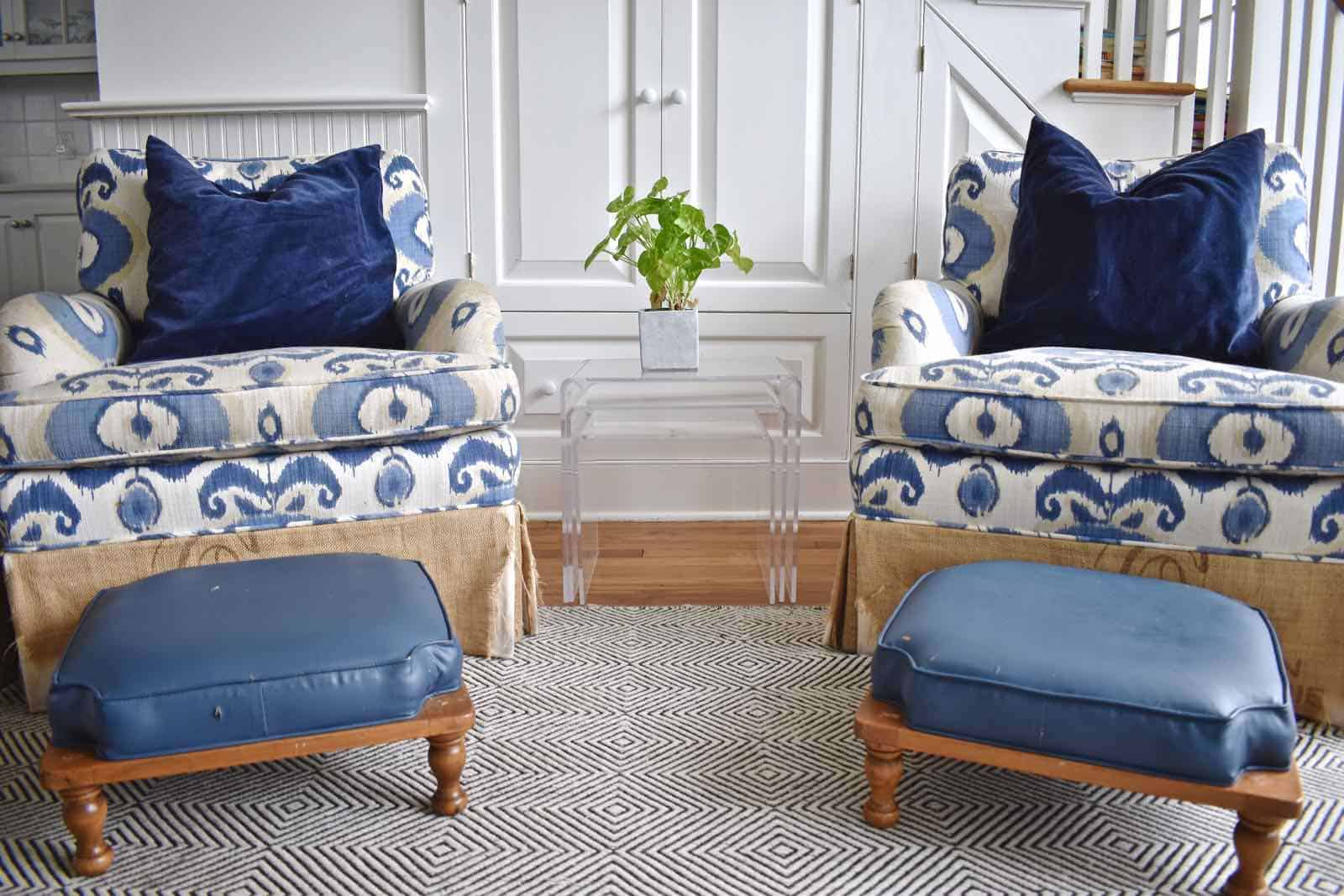 ikat chairs with footstools
