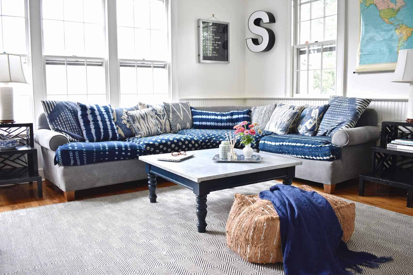 shibori cloth wrapped sofa cushions