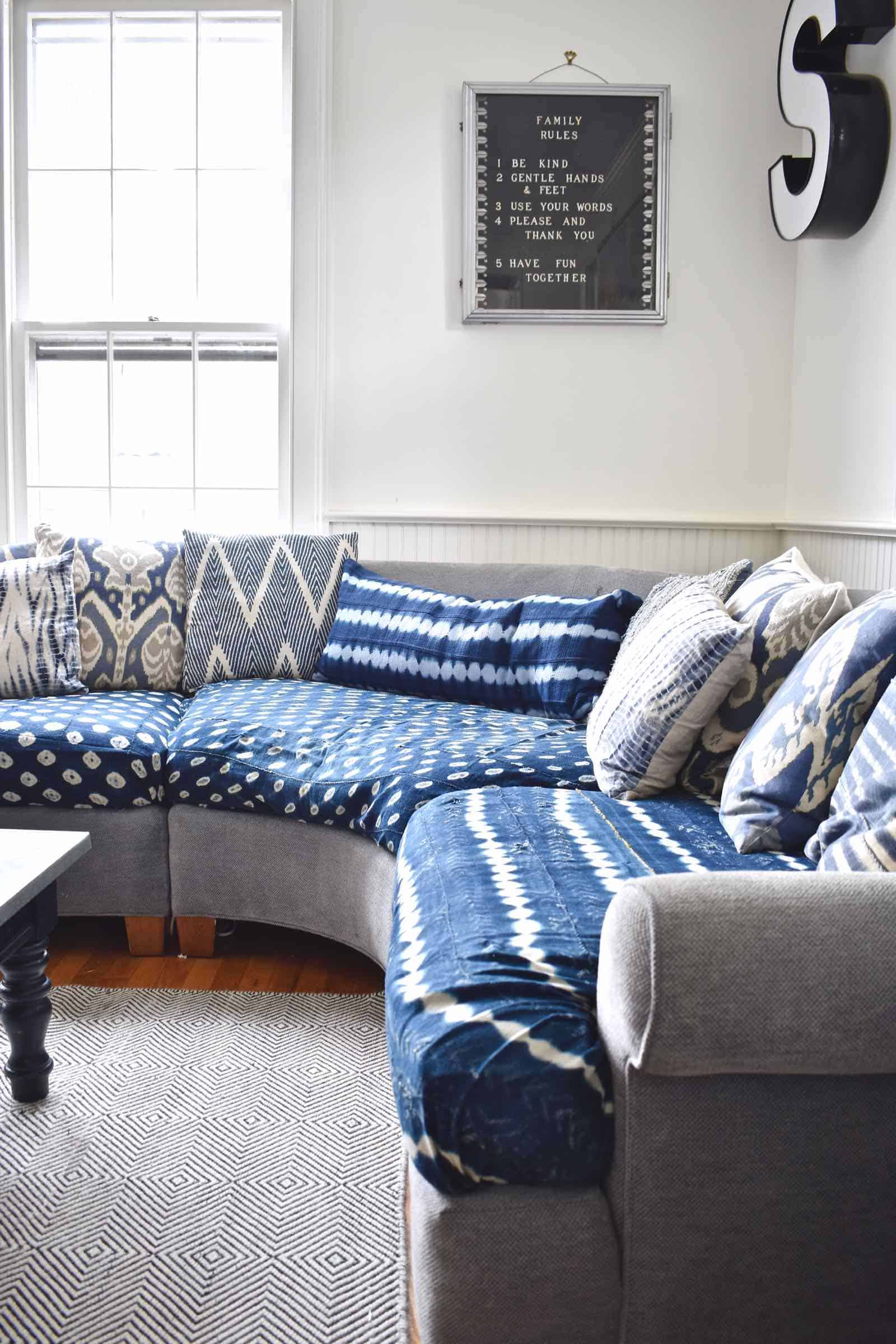 indigo cushions on couch