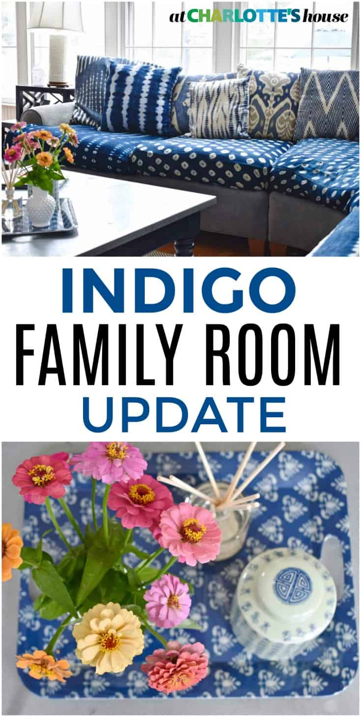 Adding some indigo to our family room made SUCH a difference... loving the rich blue