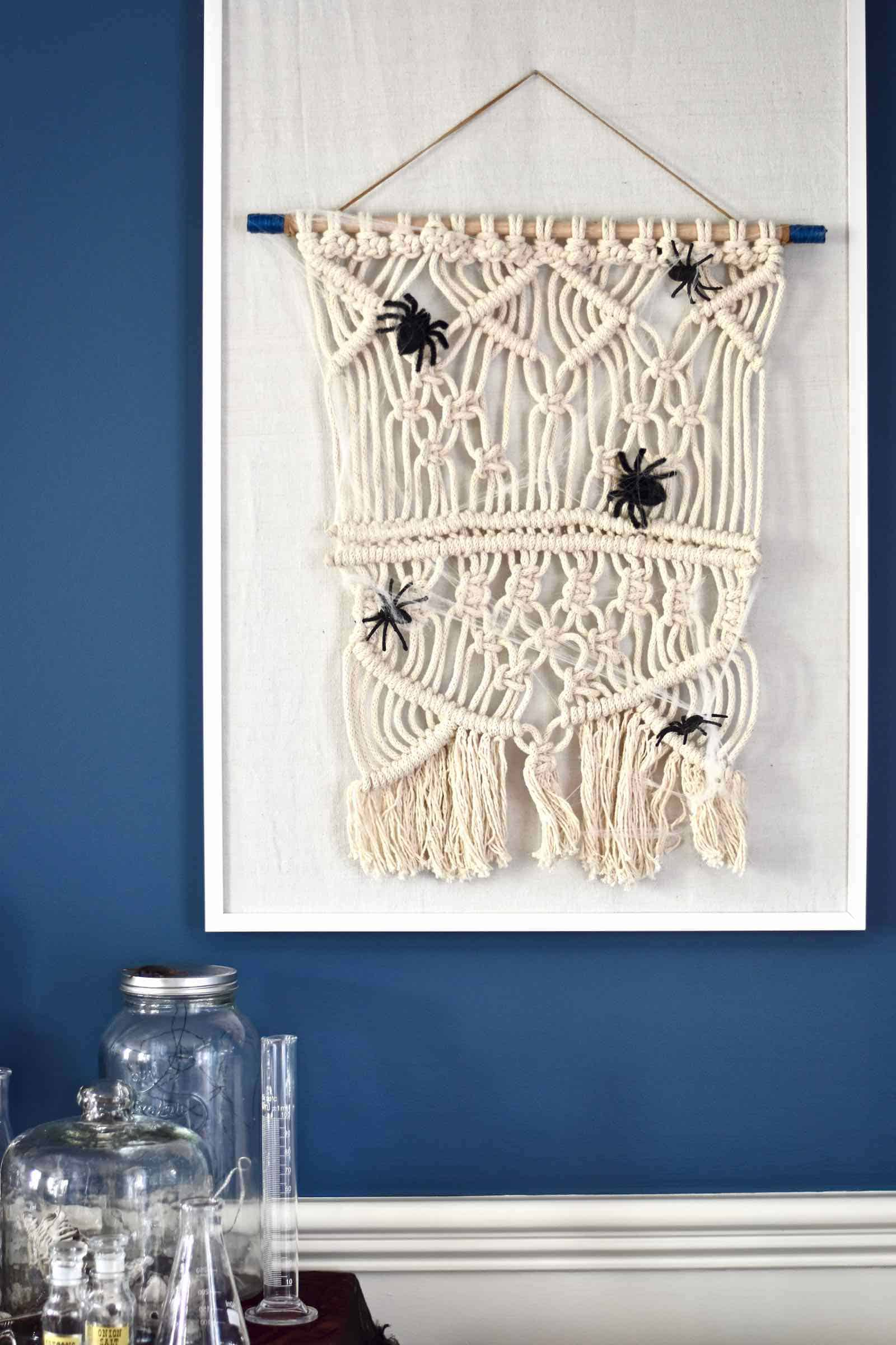 spiders on macrame halloween