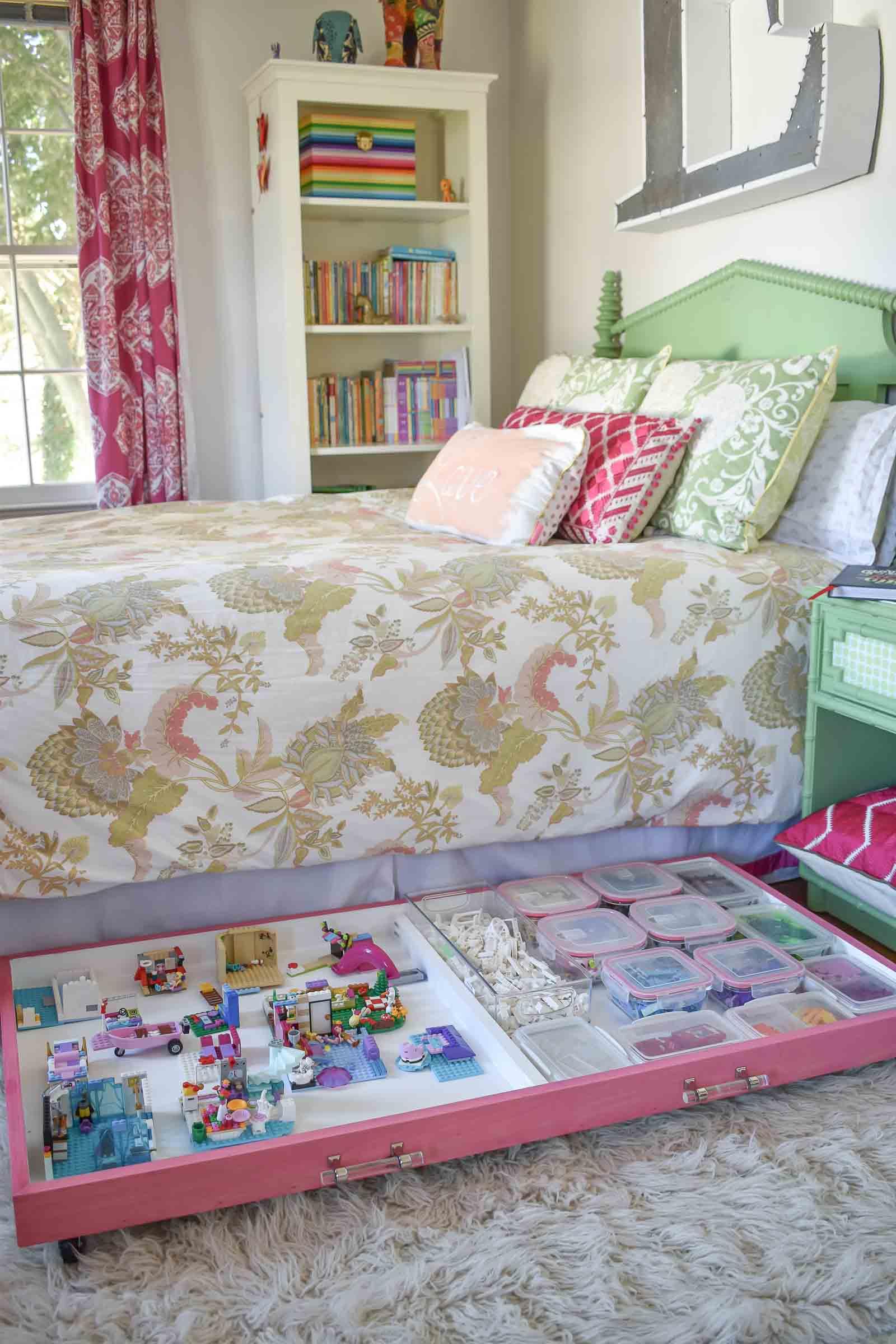 pink lego storage tray