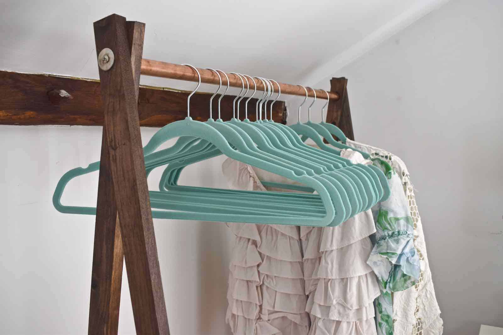close up on garment rack