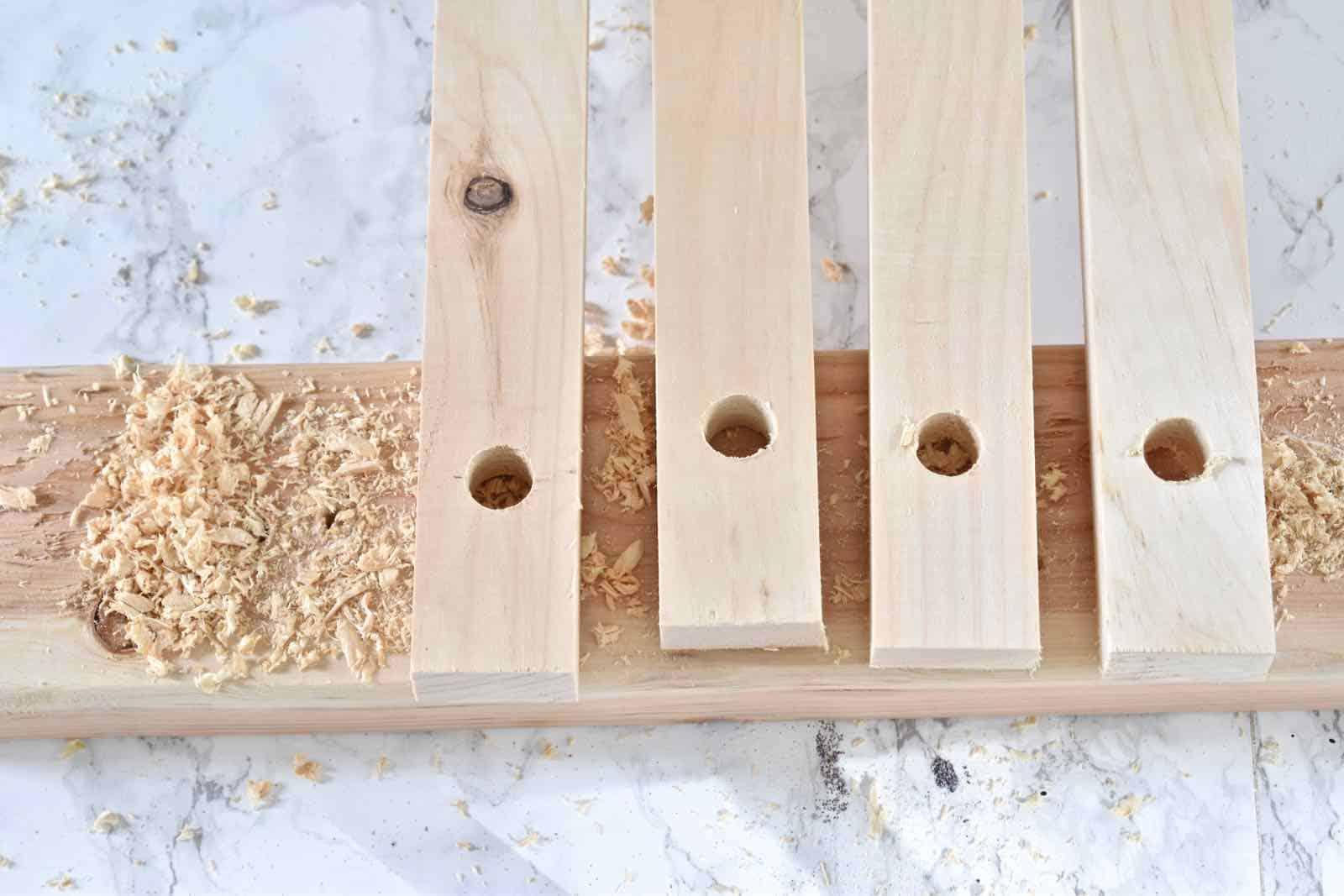 drill holes through 1x2s