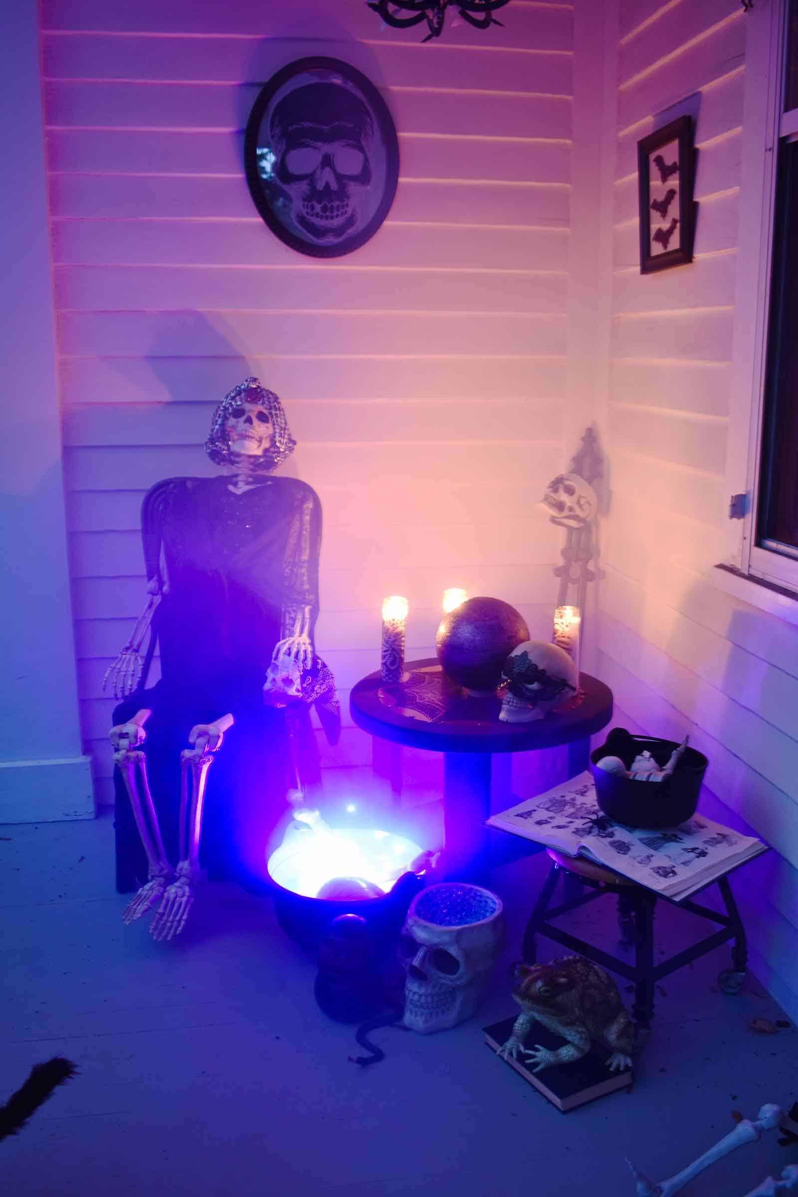 smoky twilight halloween porch