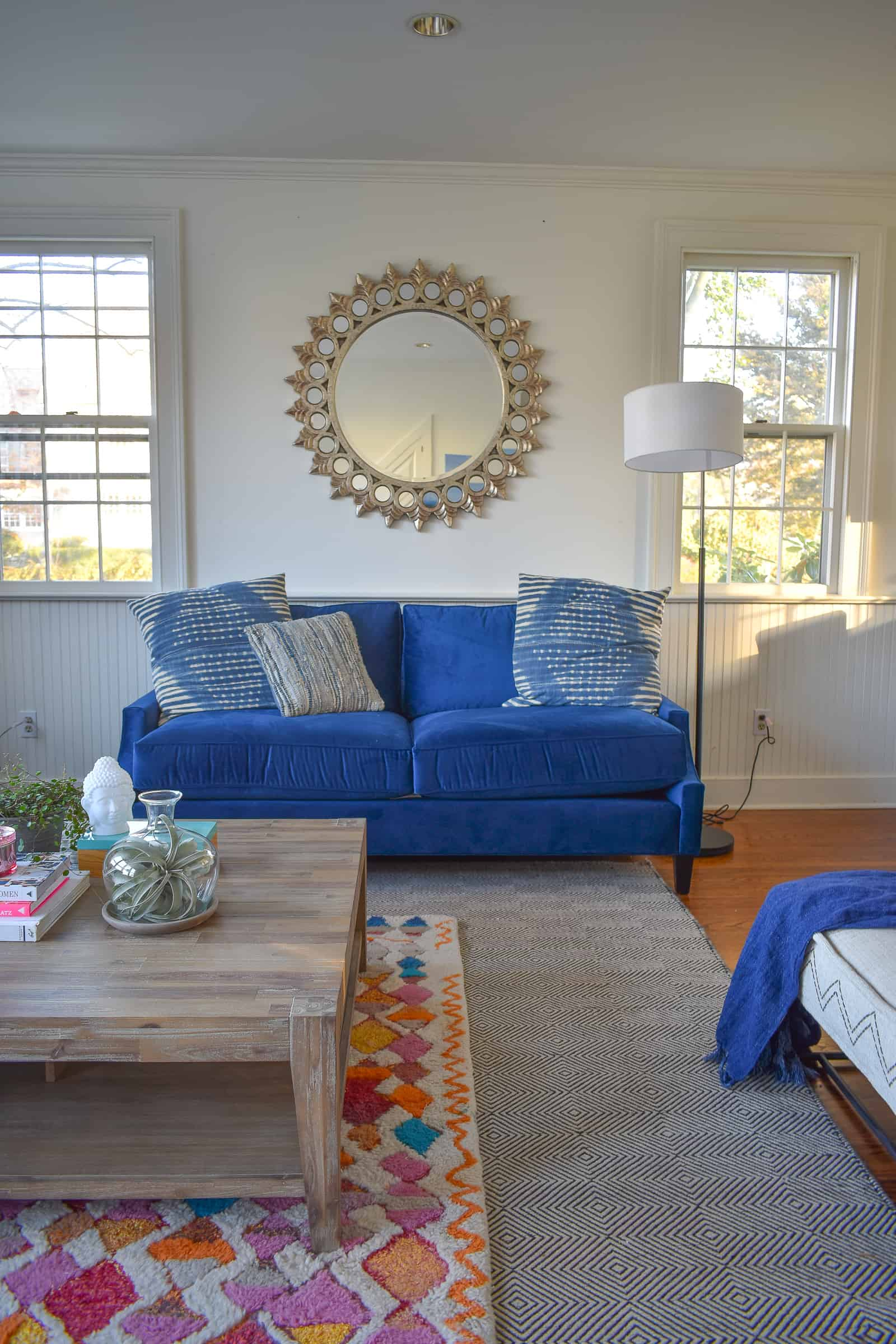 round mirror in family room