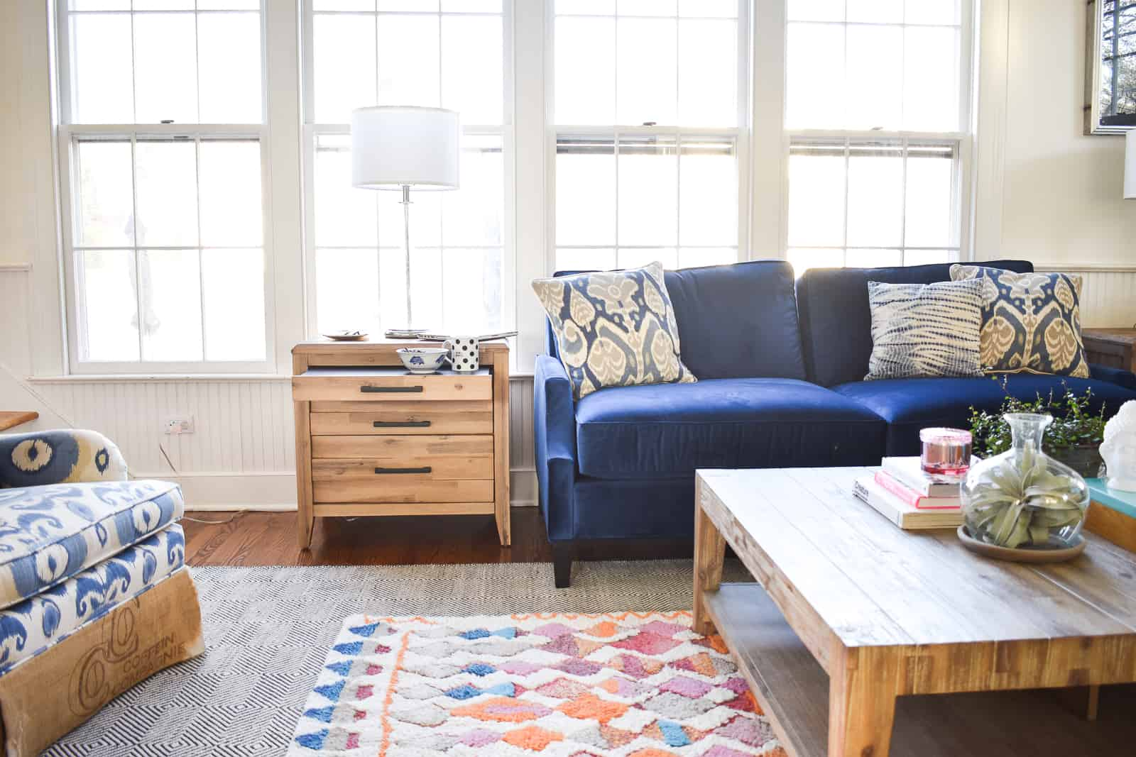 layered rug in family room