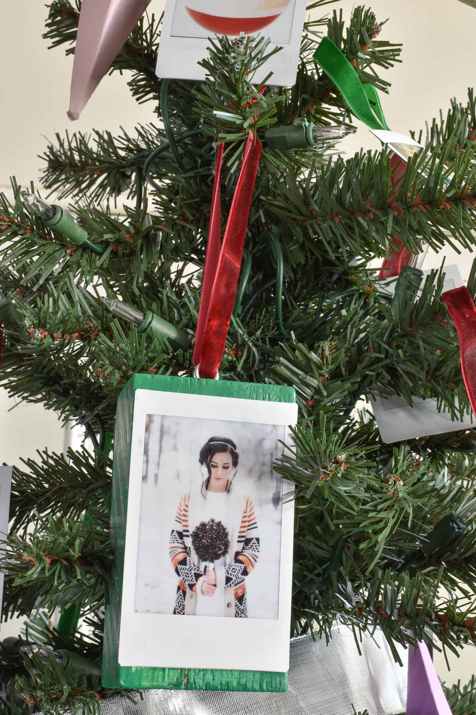 instax film as christmas ornament