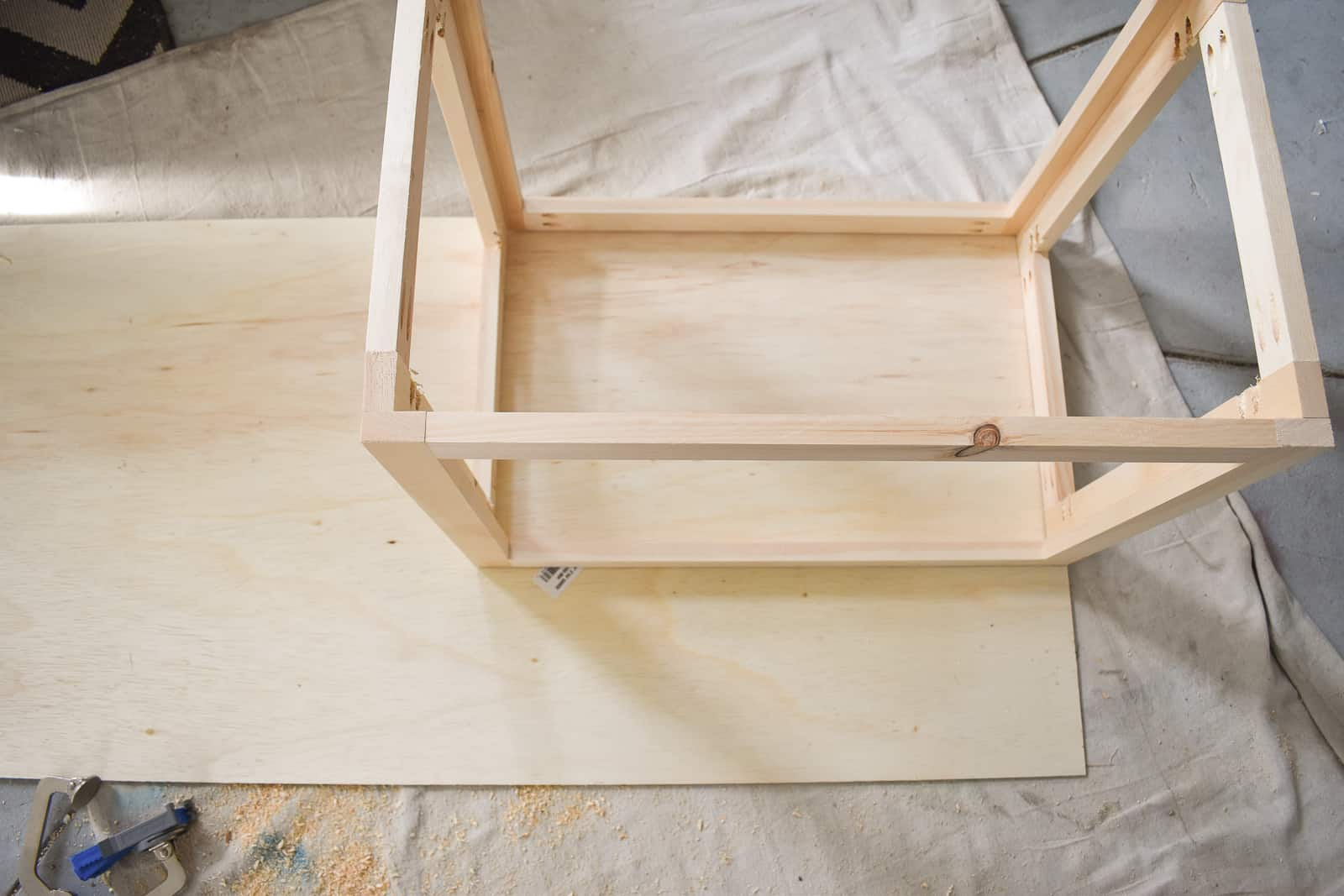 plywood base for rope storage bin