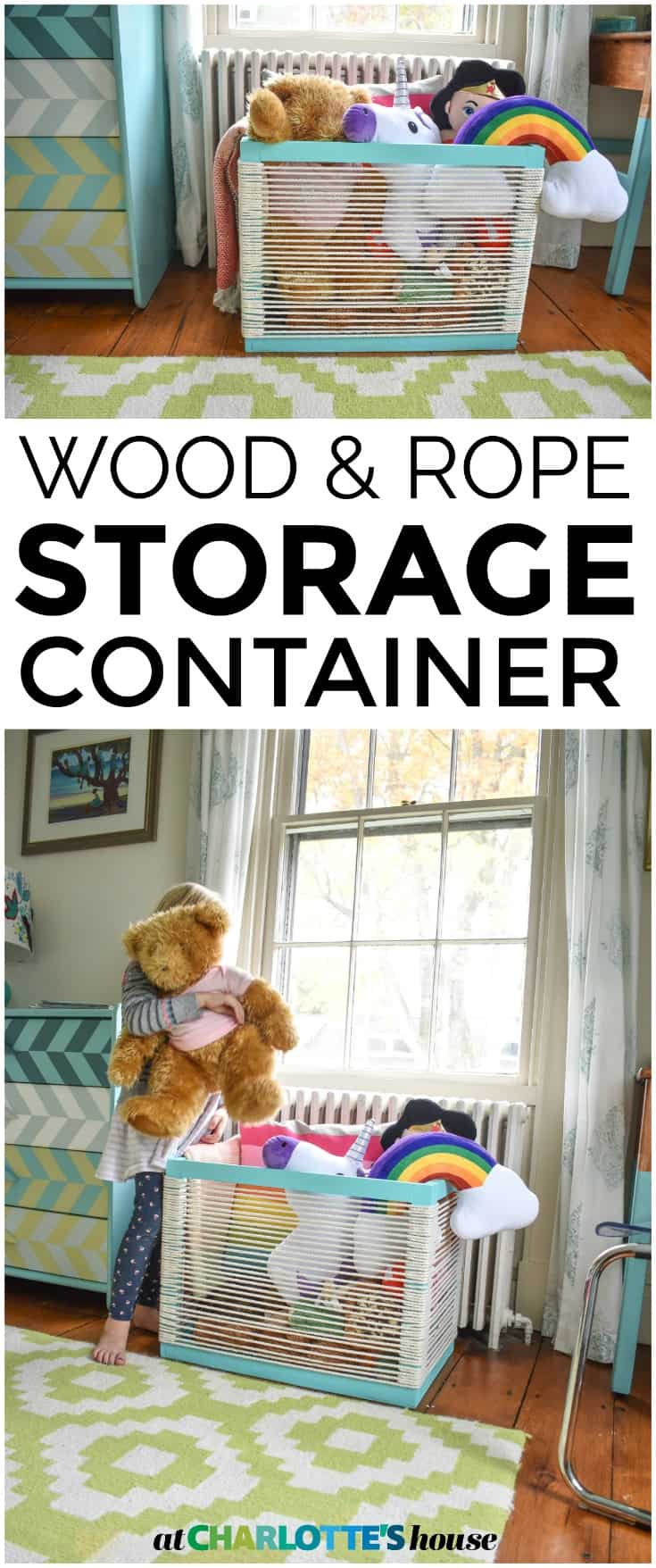 Simple wood and rope storage container. Durable and lightweight.