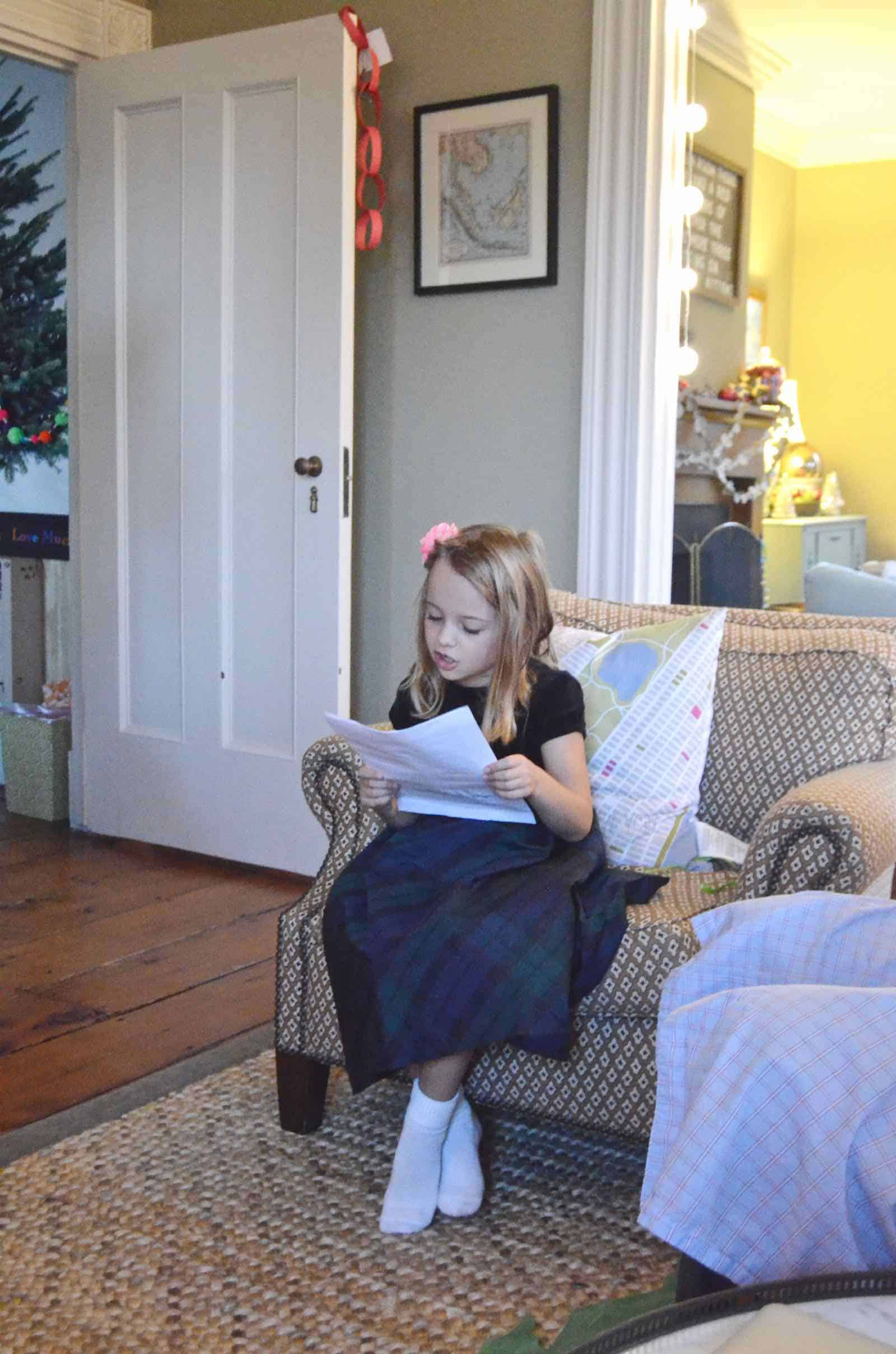 reading a letter from santa