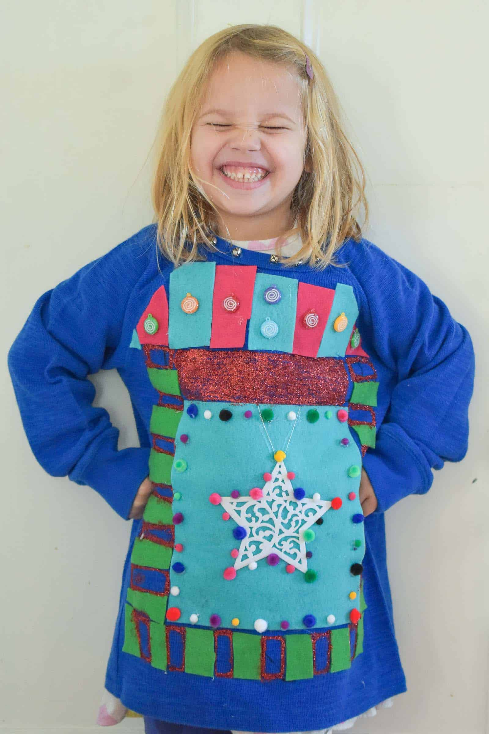 louisa modeling ugly holiday sweater
