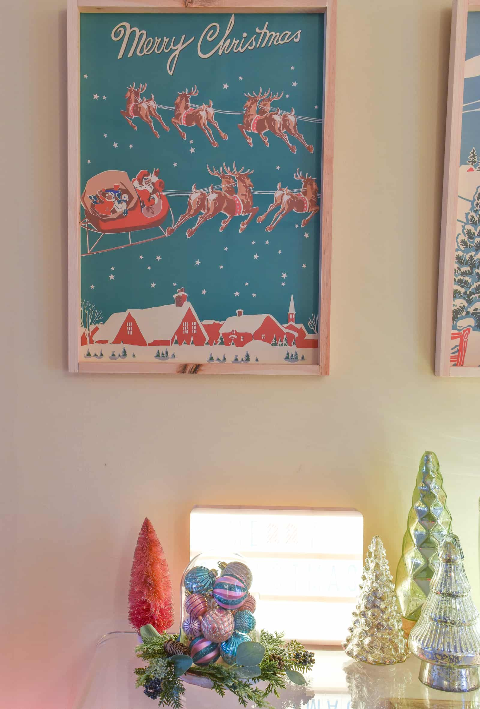 diy retro christmas print in santa's house
