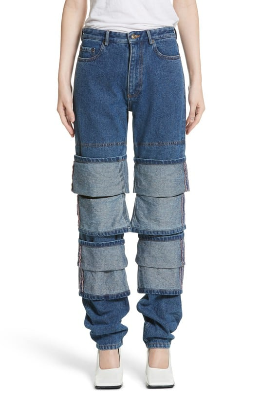 millennial shopping layered jeans