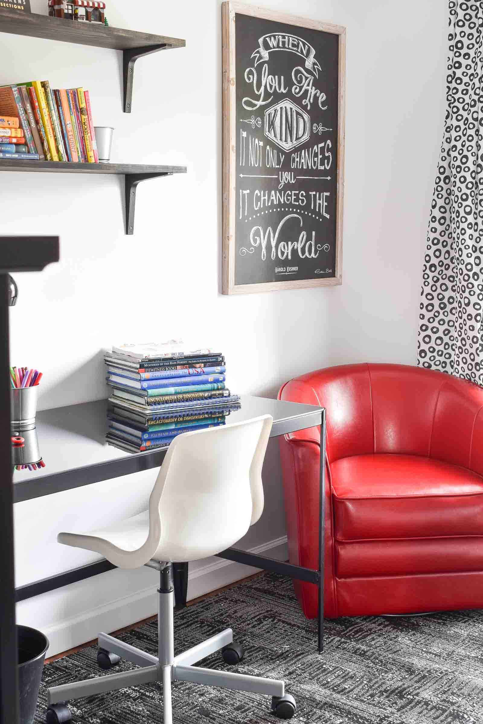 red leather chair in boys bedroom