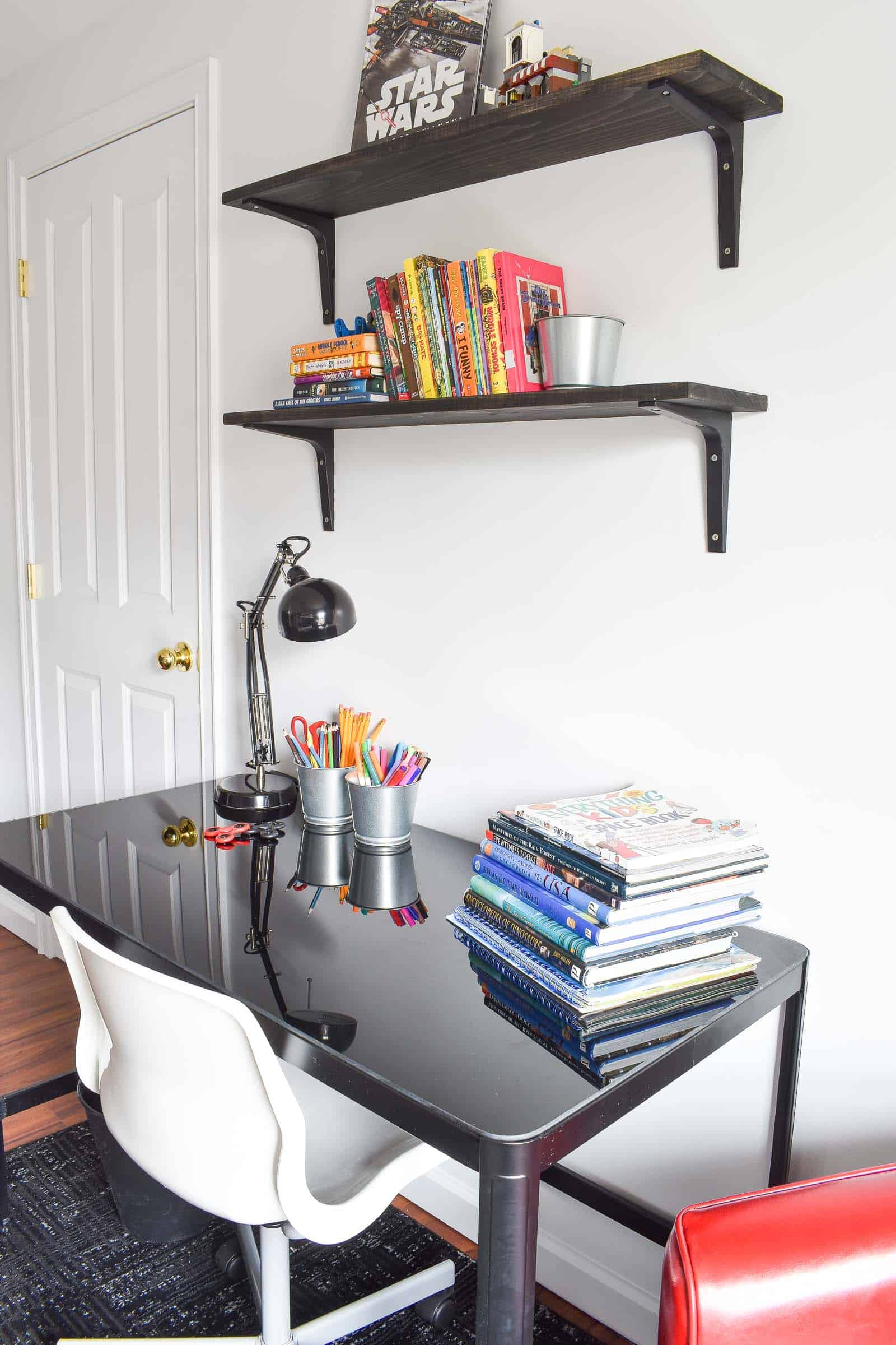 open shelves in boys room