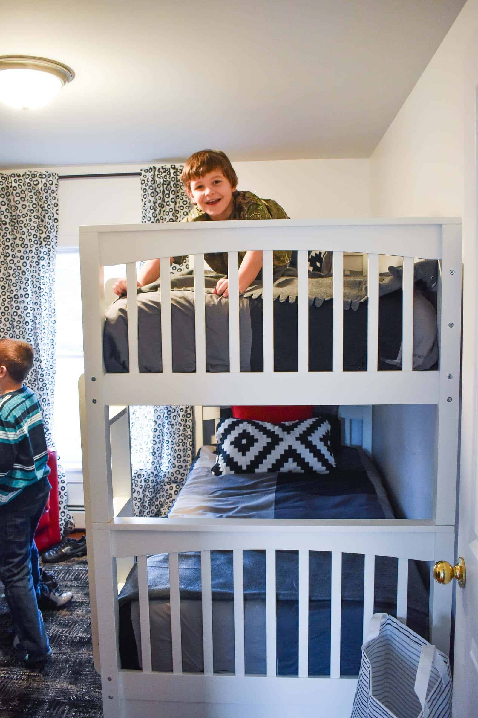 boys in shared bedroom with bunkbed