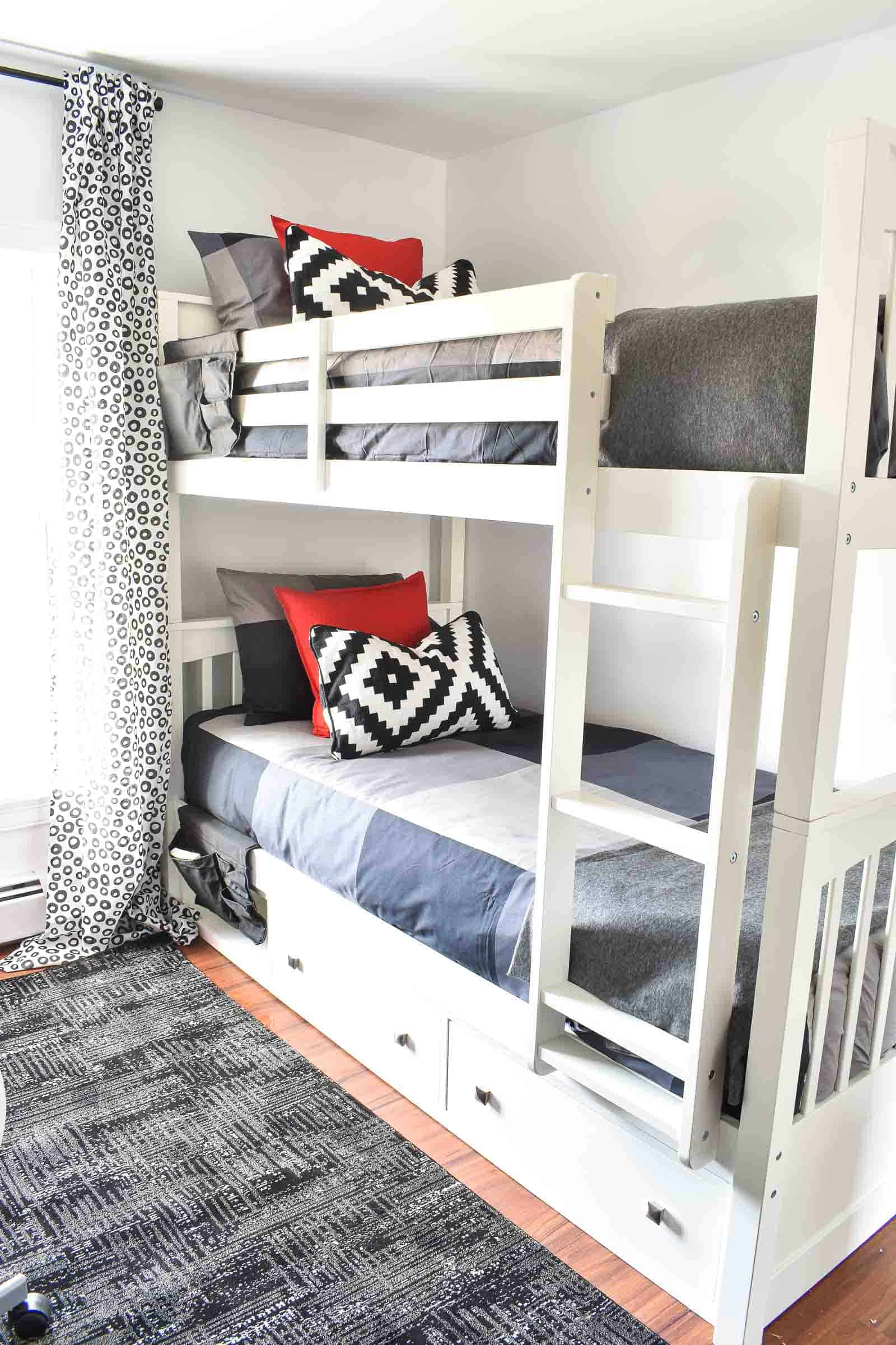 bunk bed in shared boys room