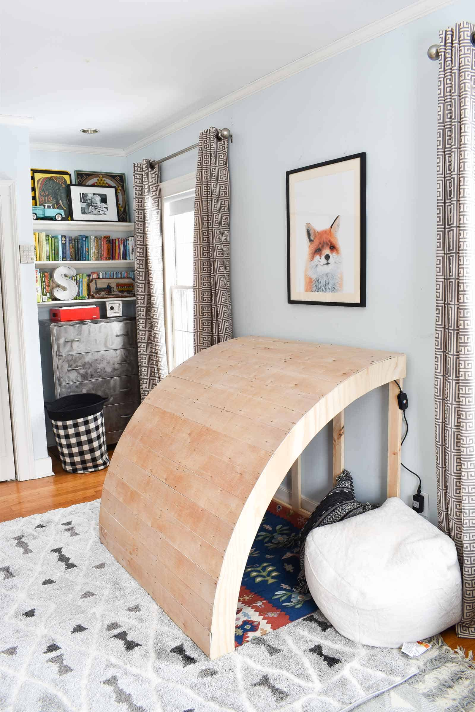 wooden reading nook