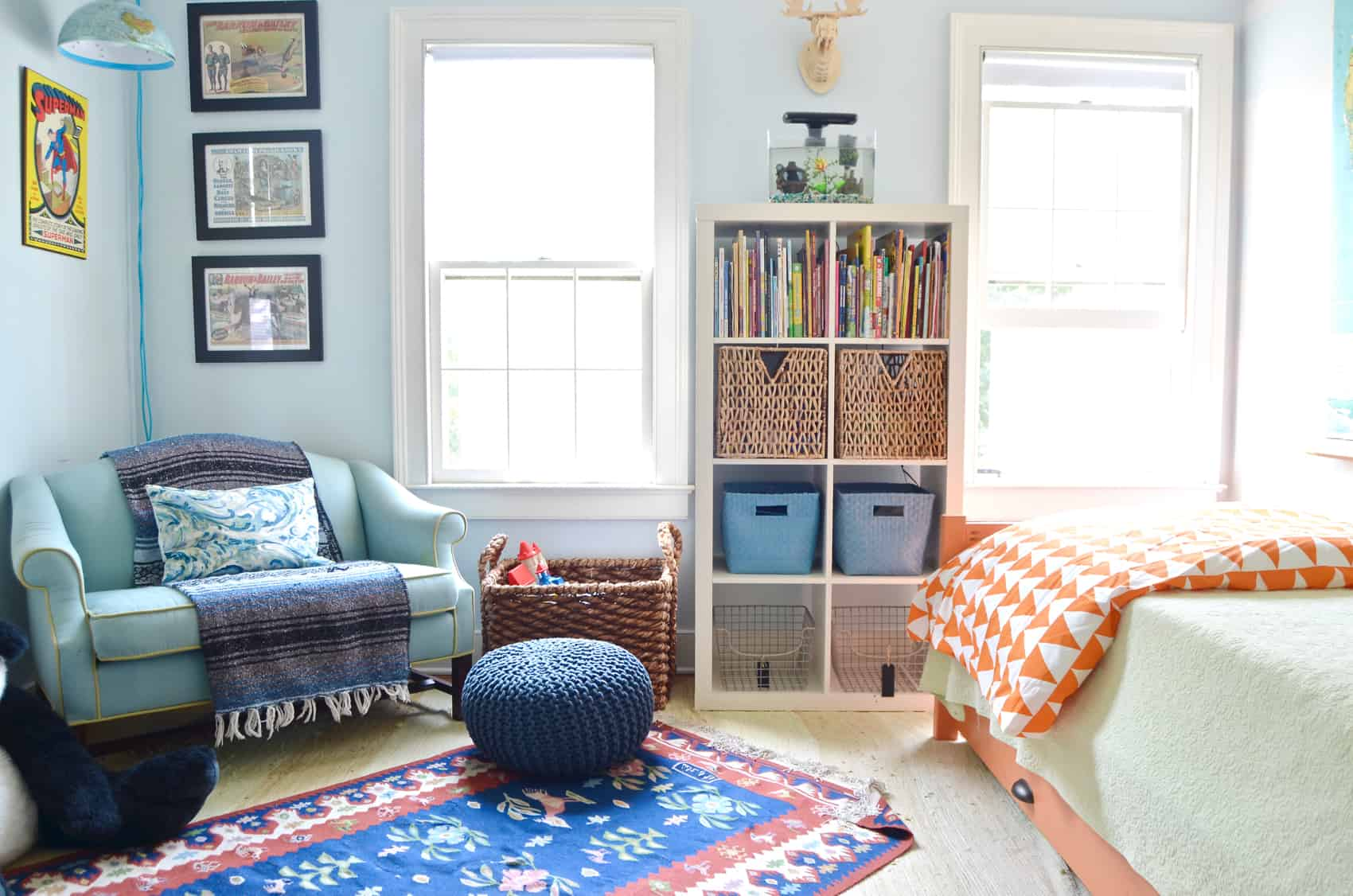 layered rugs in boys room