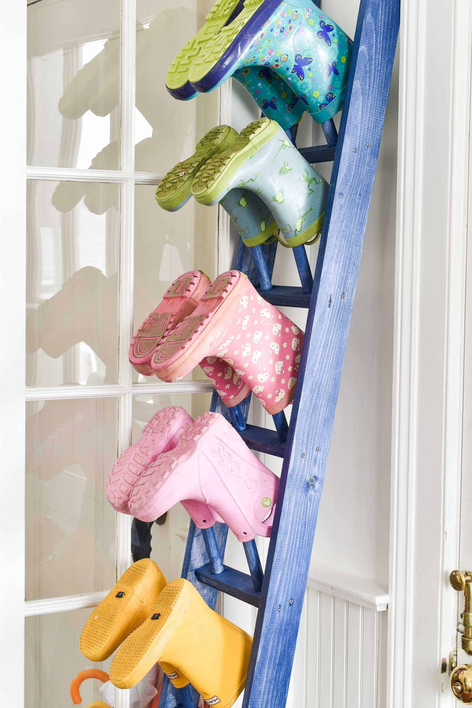 rungs on boot rack with blue stain