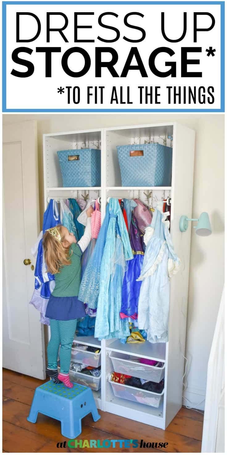 this dress ups system holds ALL of our girls dress ups and we had a ton! It wrangles the purses and shoes and dozens and dozens of dresses.