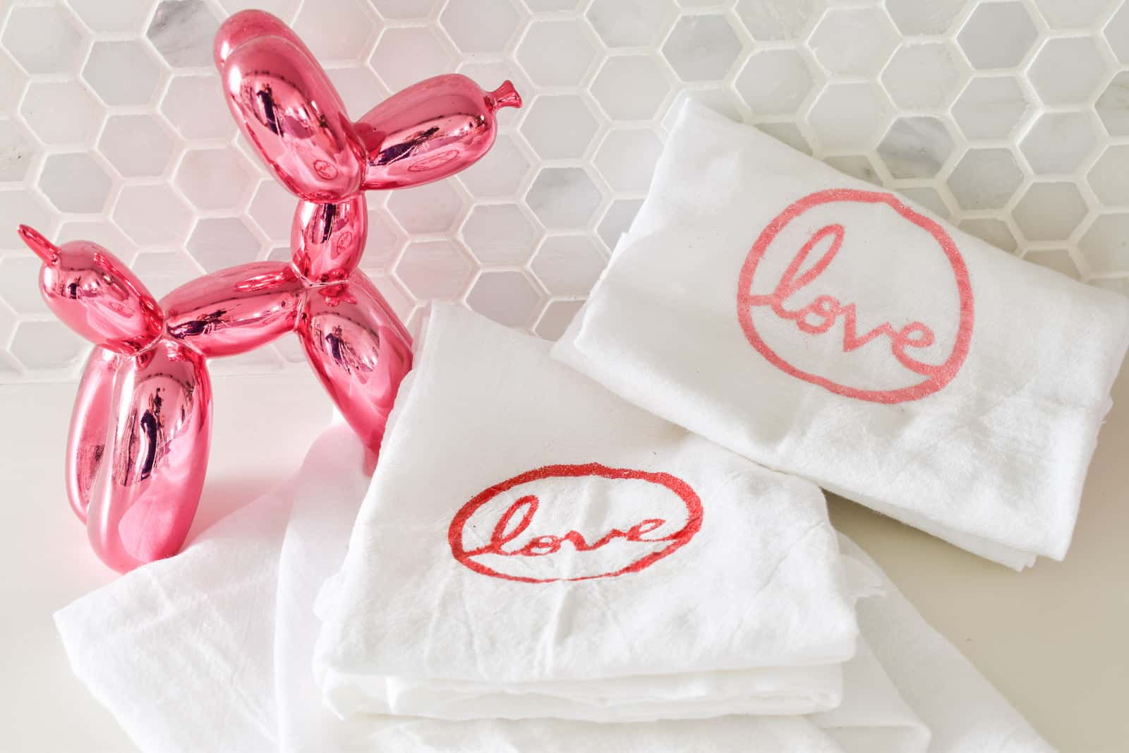 make your own embossed Valentine's Day towel