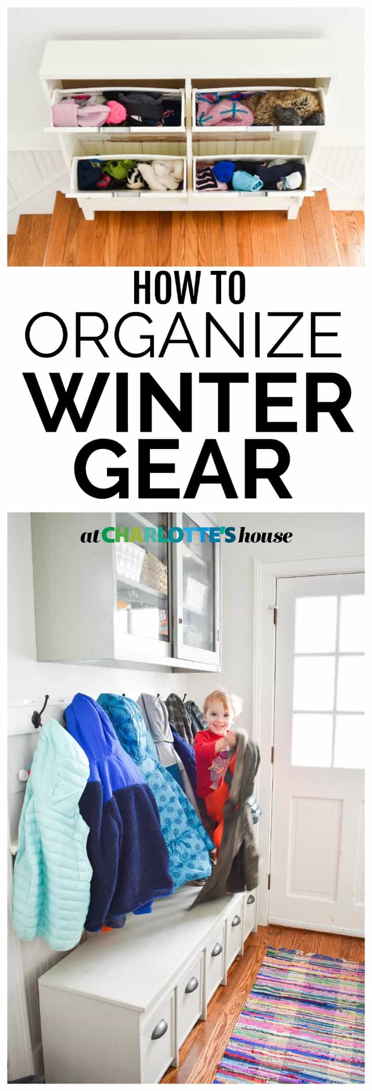 how we organize winter gear in our mudroom