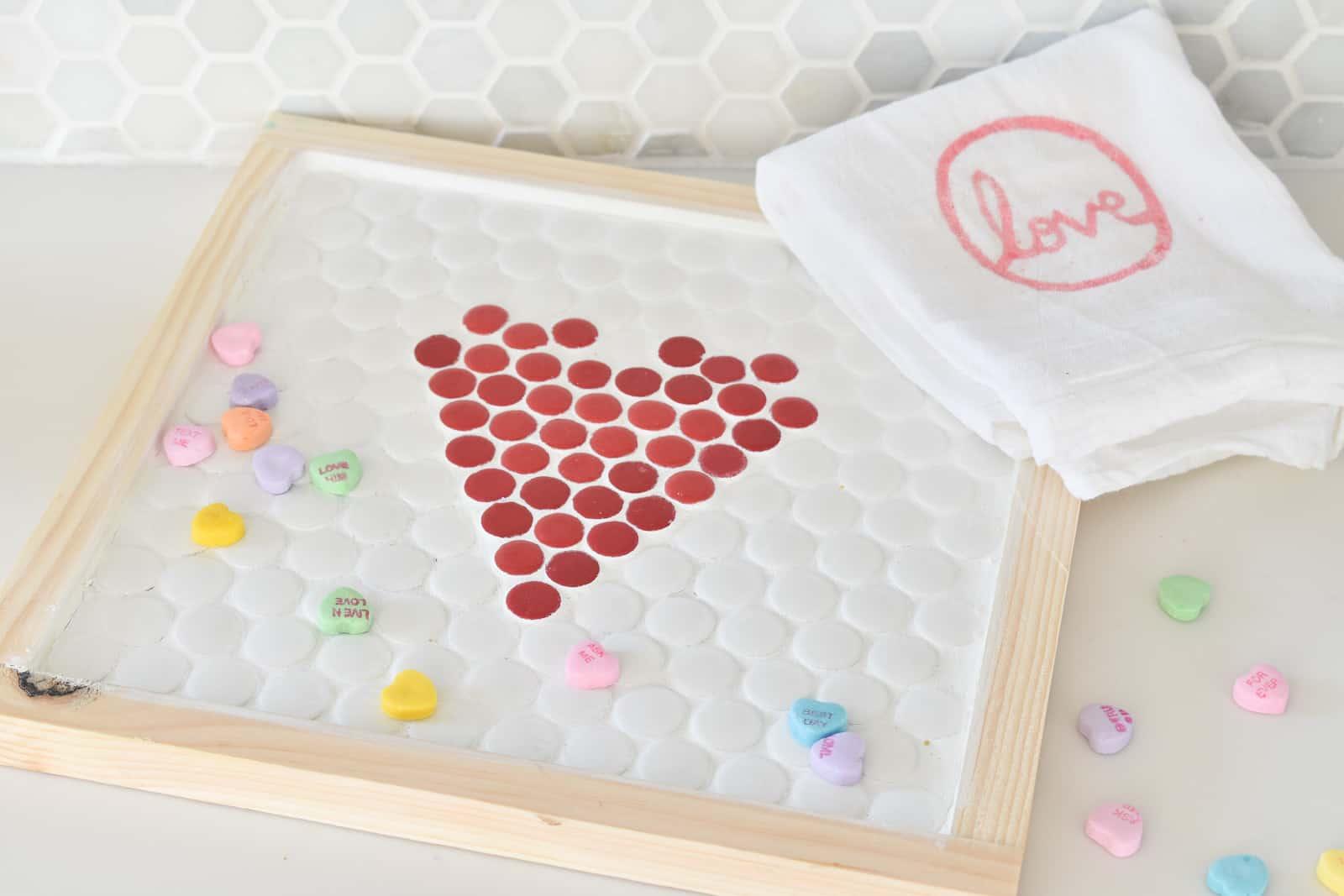 penny tile trivet for valentines day