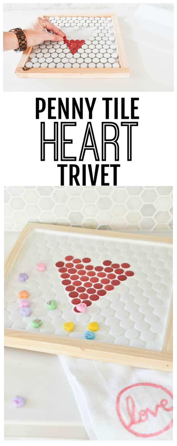 this penny tile trivet was a fun project to make for our valentines day