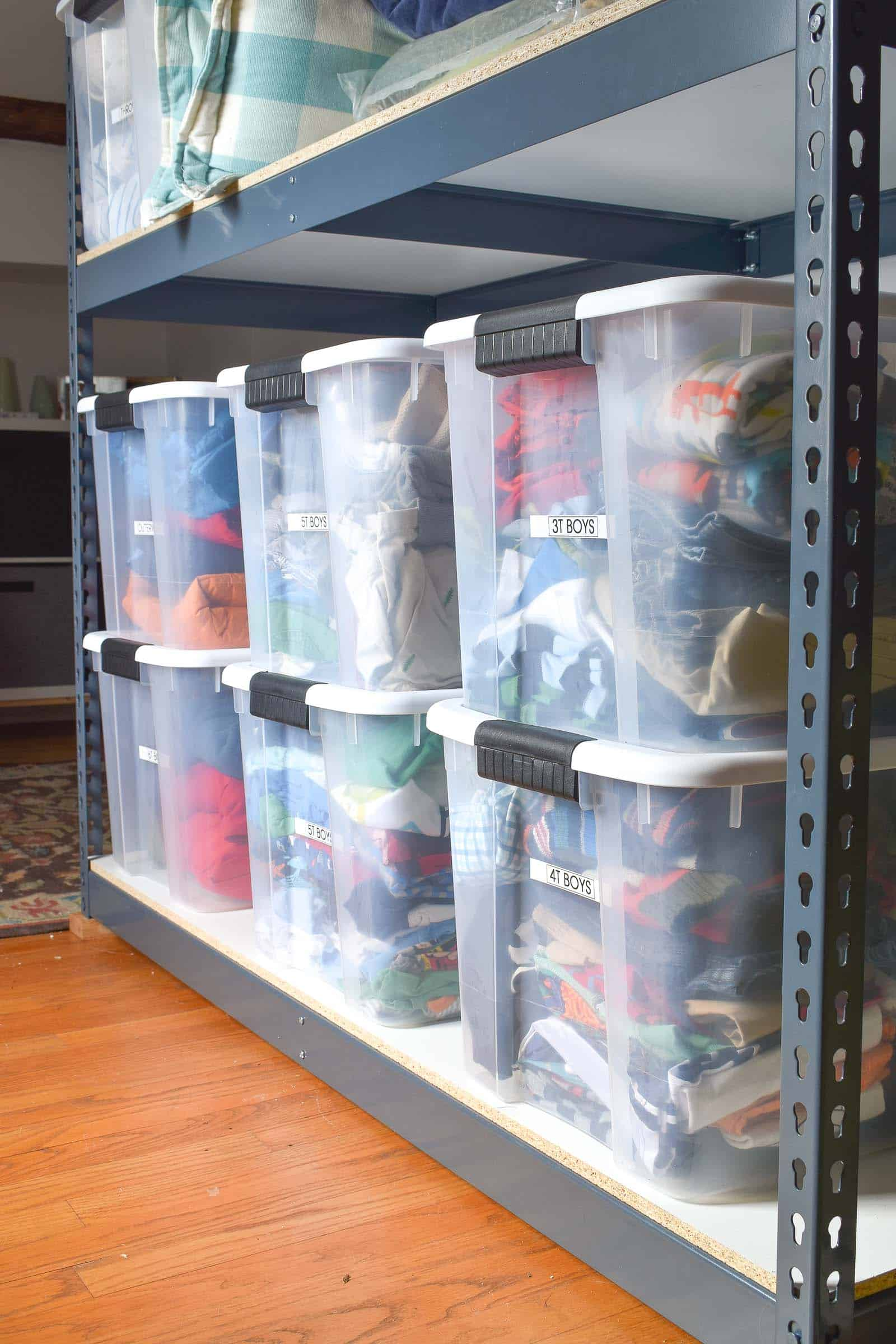 sorted tupperware bins in storage closet