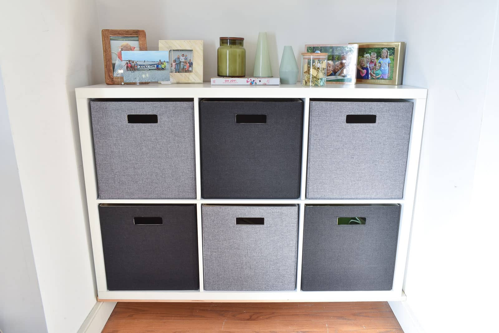 storage cubbies in alcove