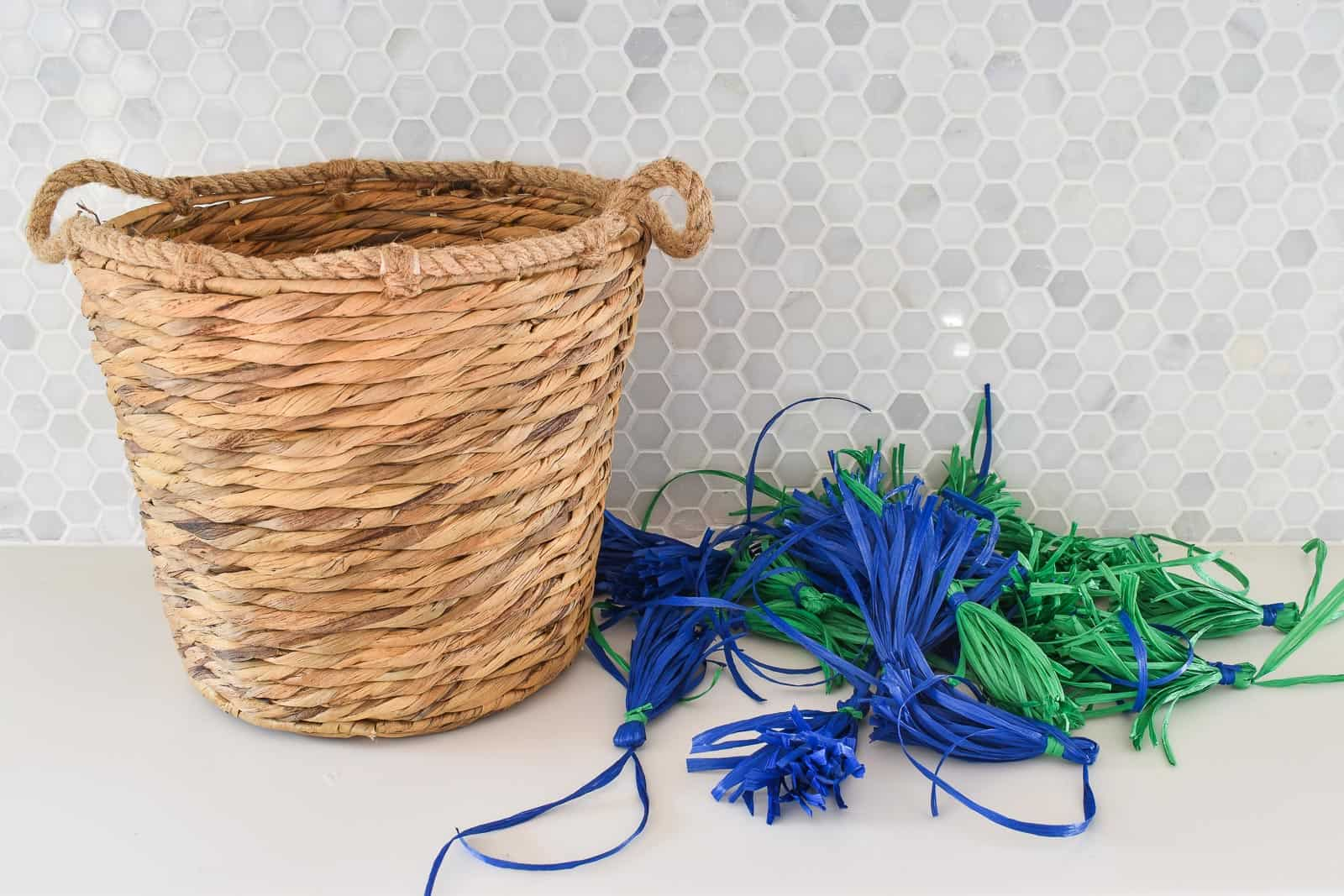 pile of tassels next to basket