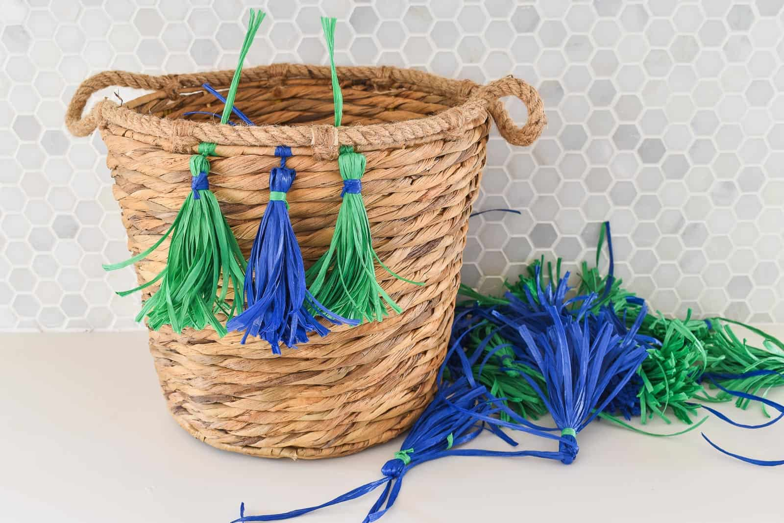 attach tassels to basket