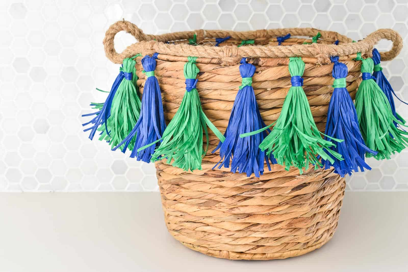 diy tasseled basket