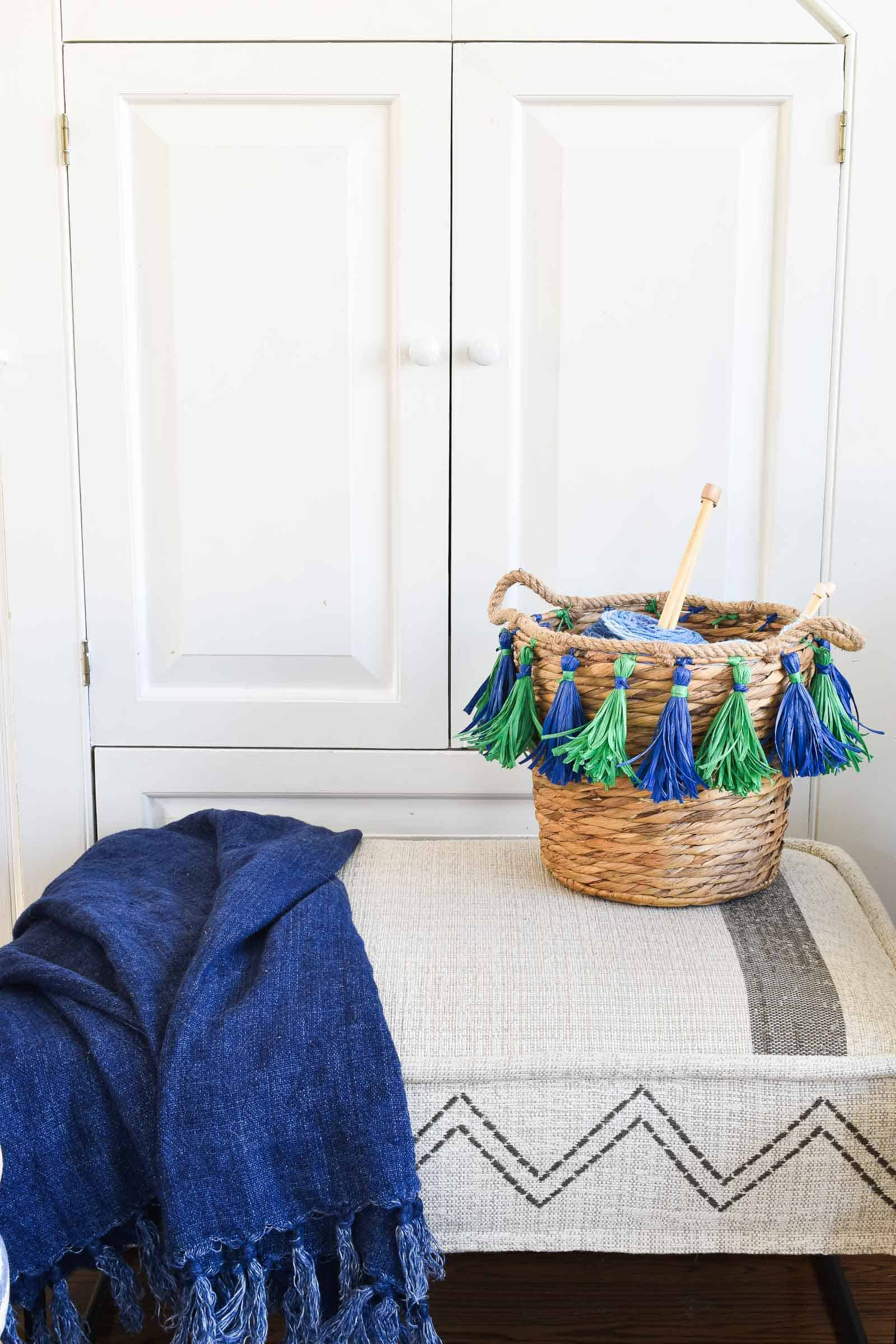 tasseled basket diy