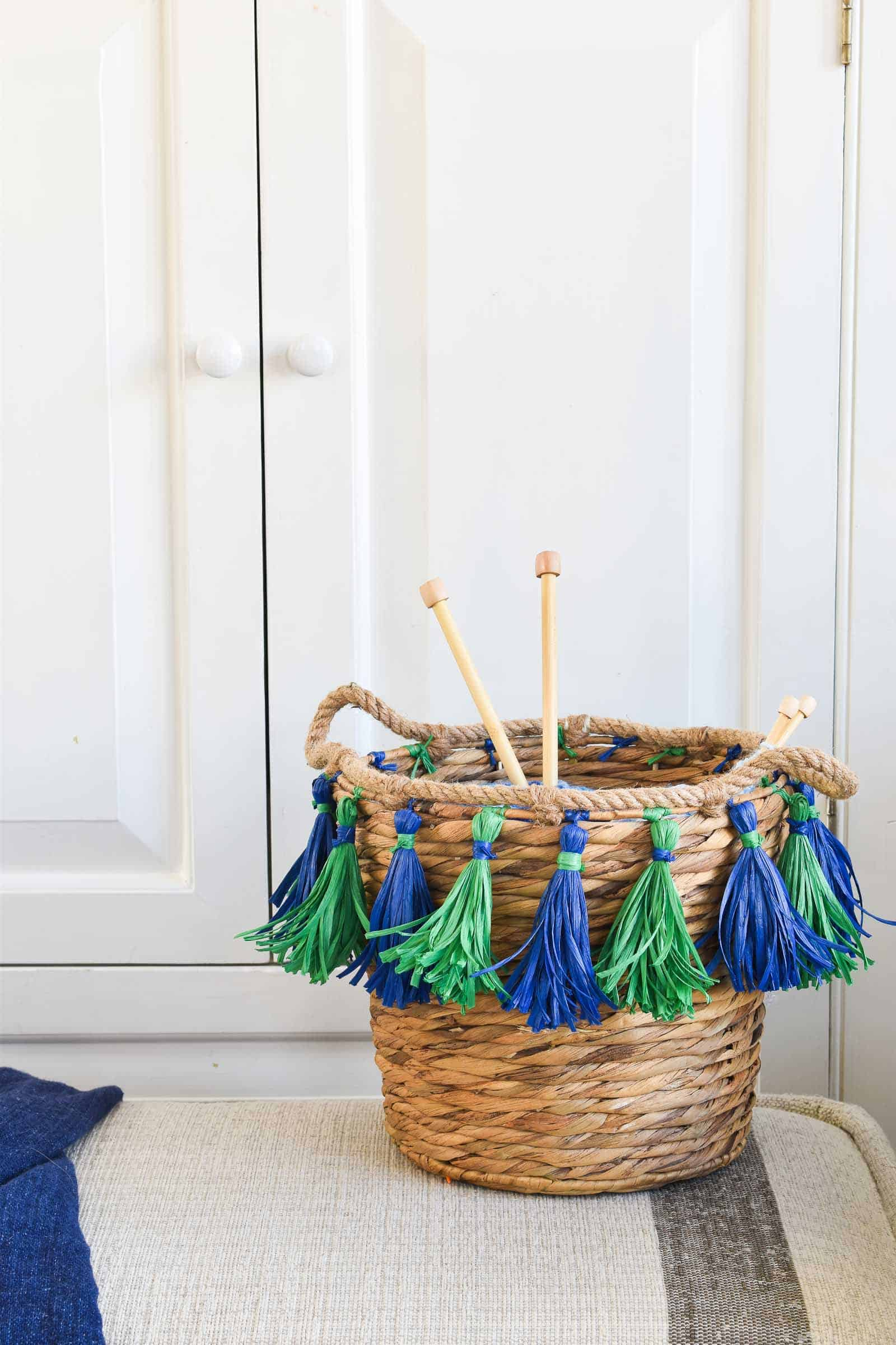 basket with DIY tassels