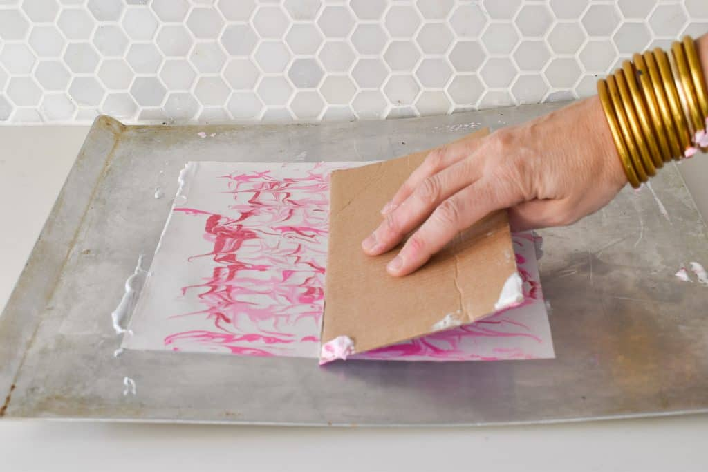 diy marbled valentine's shadow box