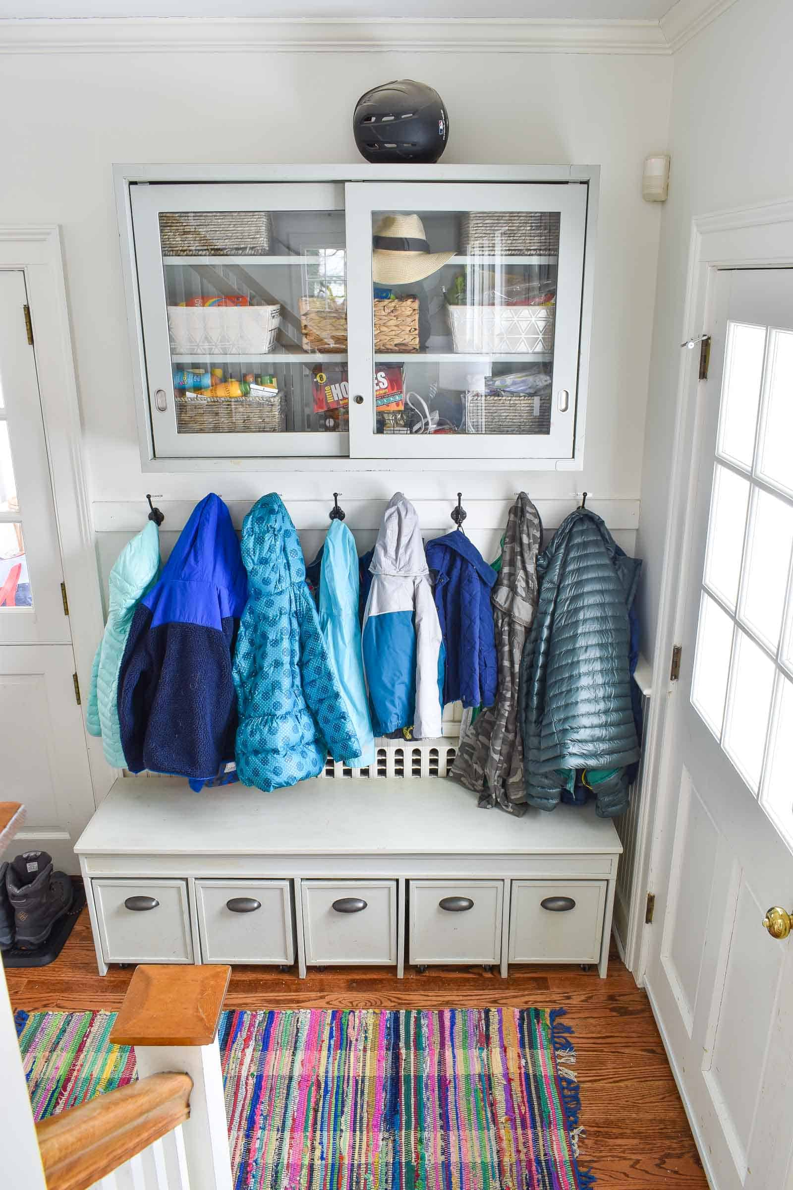 winter gear storage in mudroom