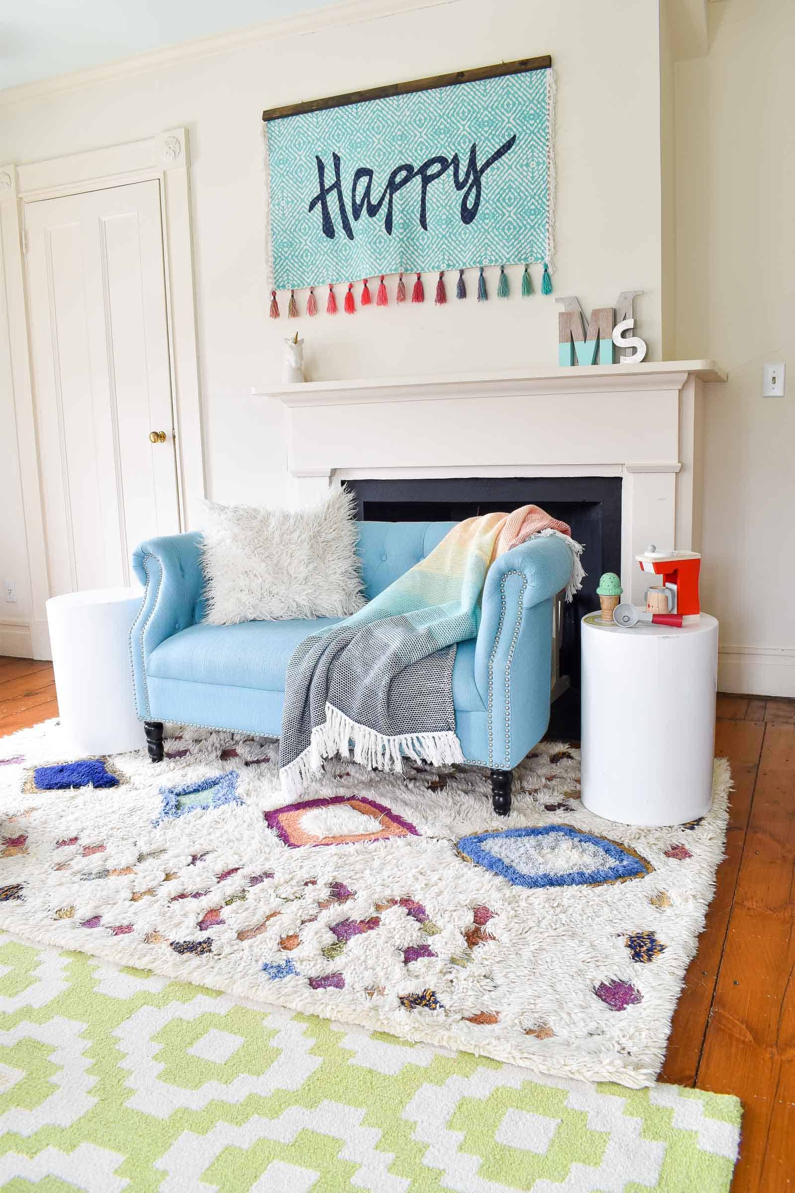 layered rug in girls room