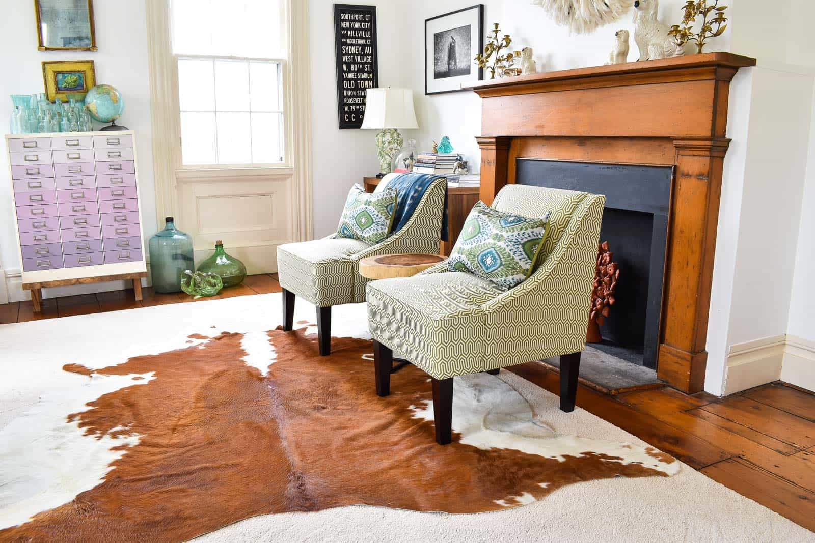 Layered Cowhide Rug In Office