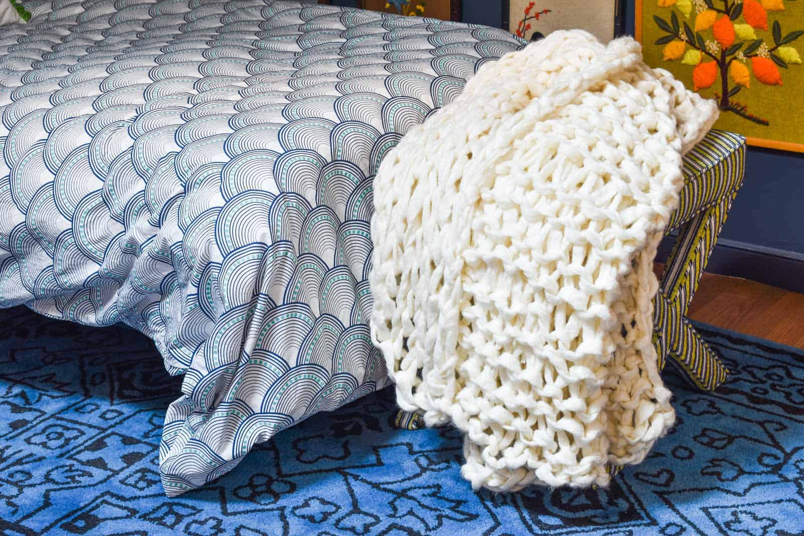 how to make your own arm knit blanket