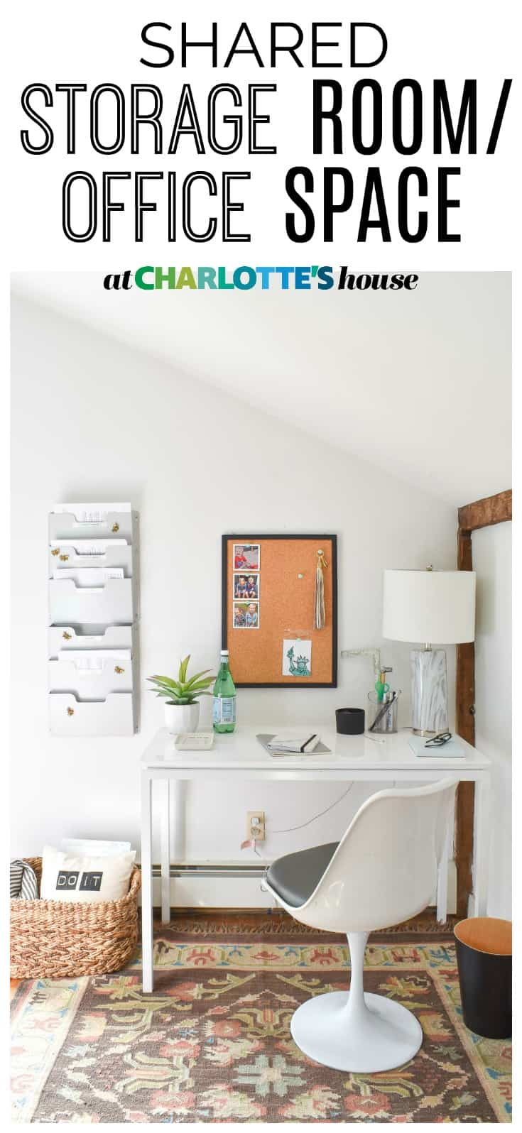 I turned this clutter filled closet into a neat and organized storage room office space.