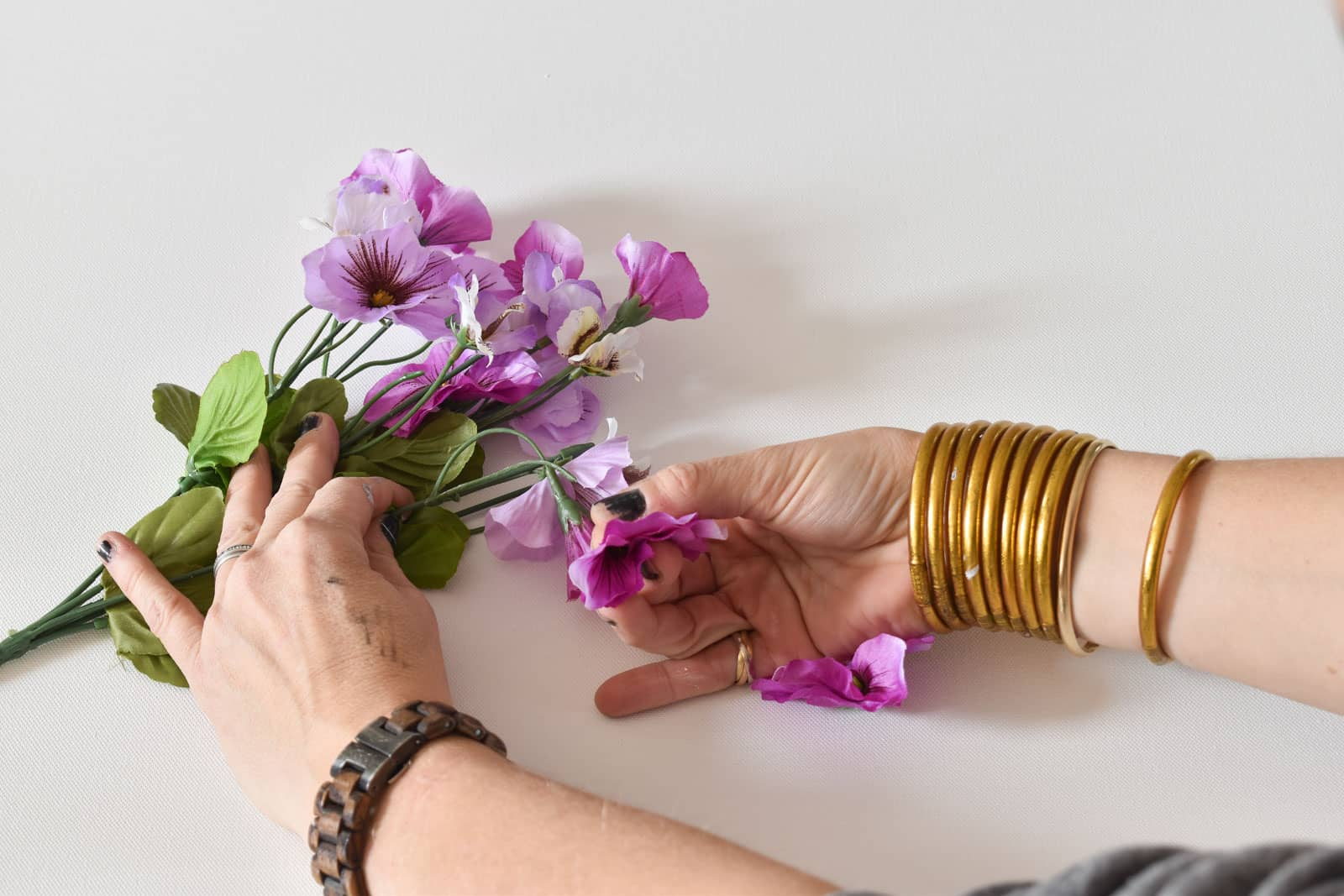 Remove the flowers from the stems