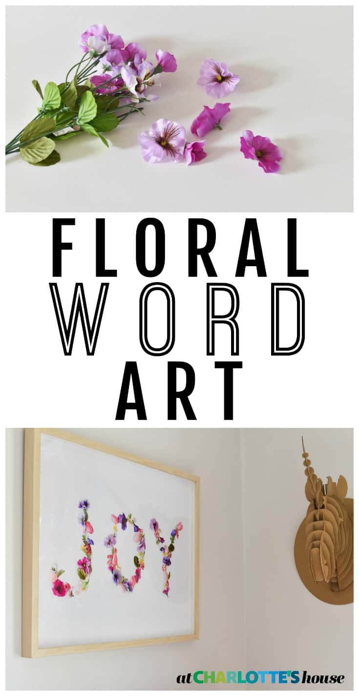 use faux flowers to create a fun colorful spring piece of wall art