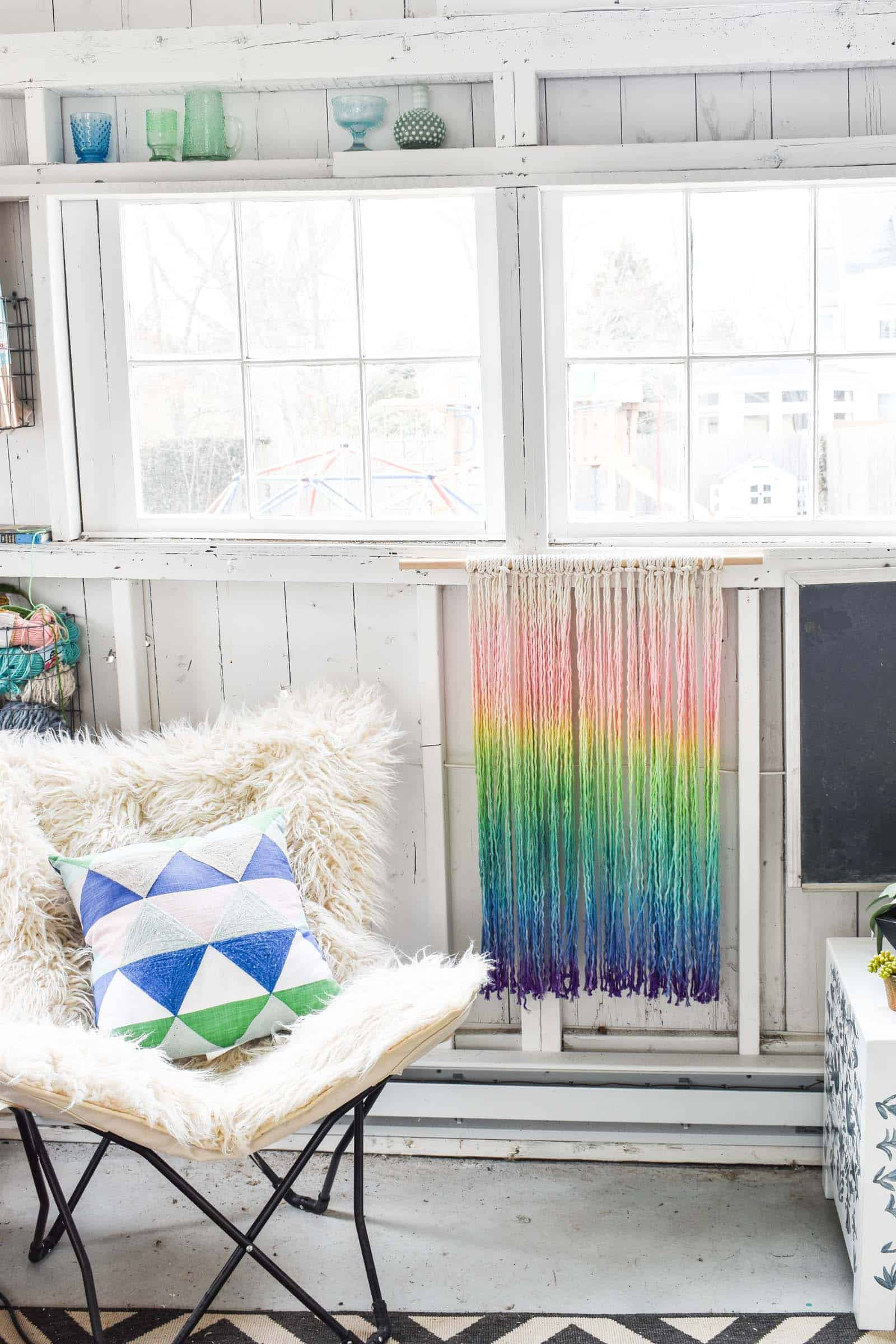 dip dyed boho rainbow wall hanging