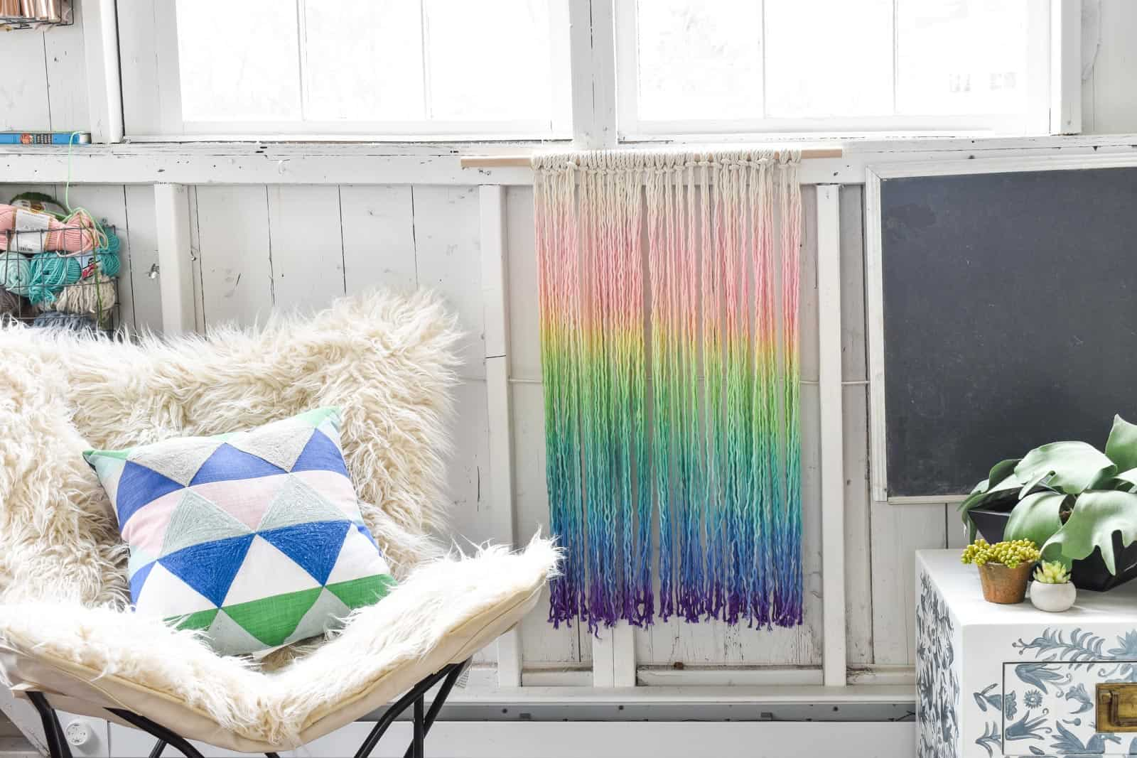rainbow dyed wall hanging
